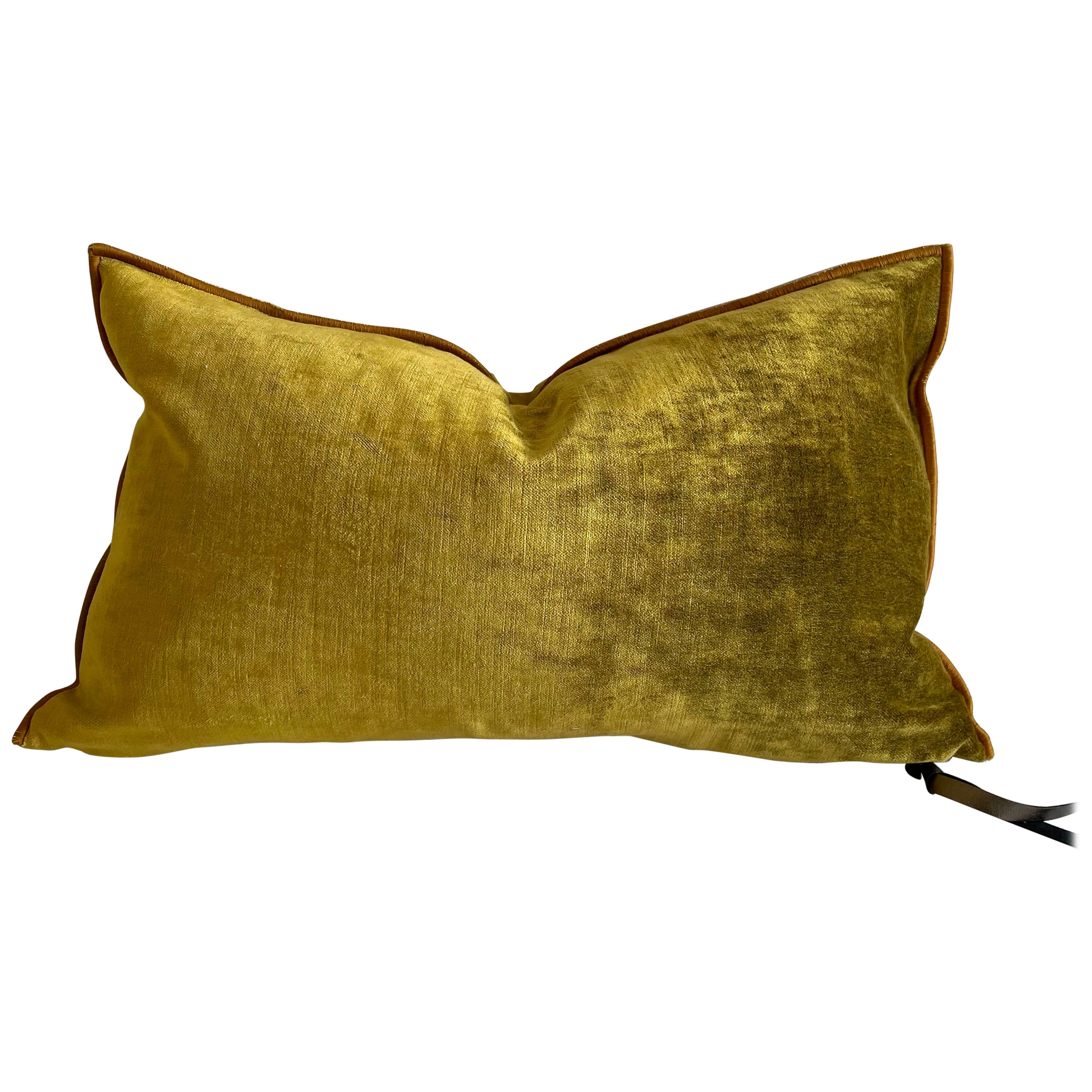 Ocre French Velvet Lumbar Pillow