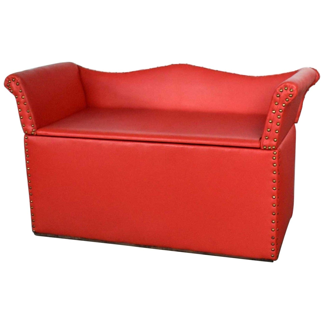 Vintage Coral Vinyl Faux Leather Cedar Lined Storage Bench Settee Nailhead Det