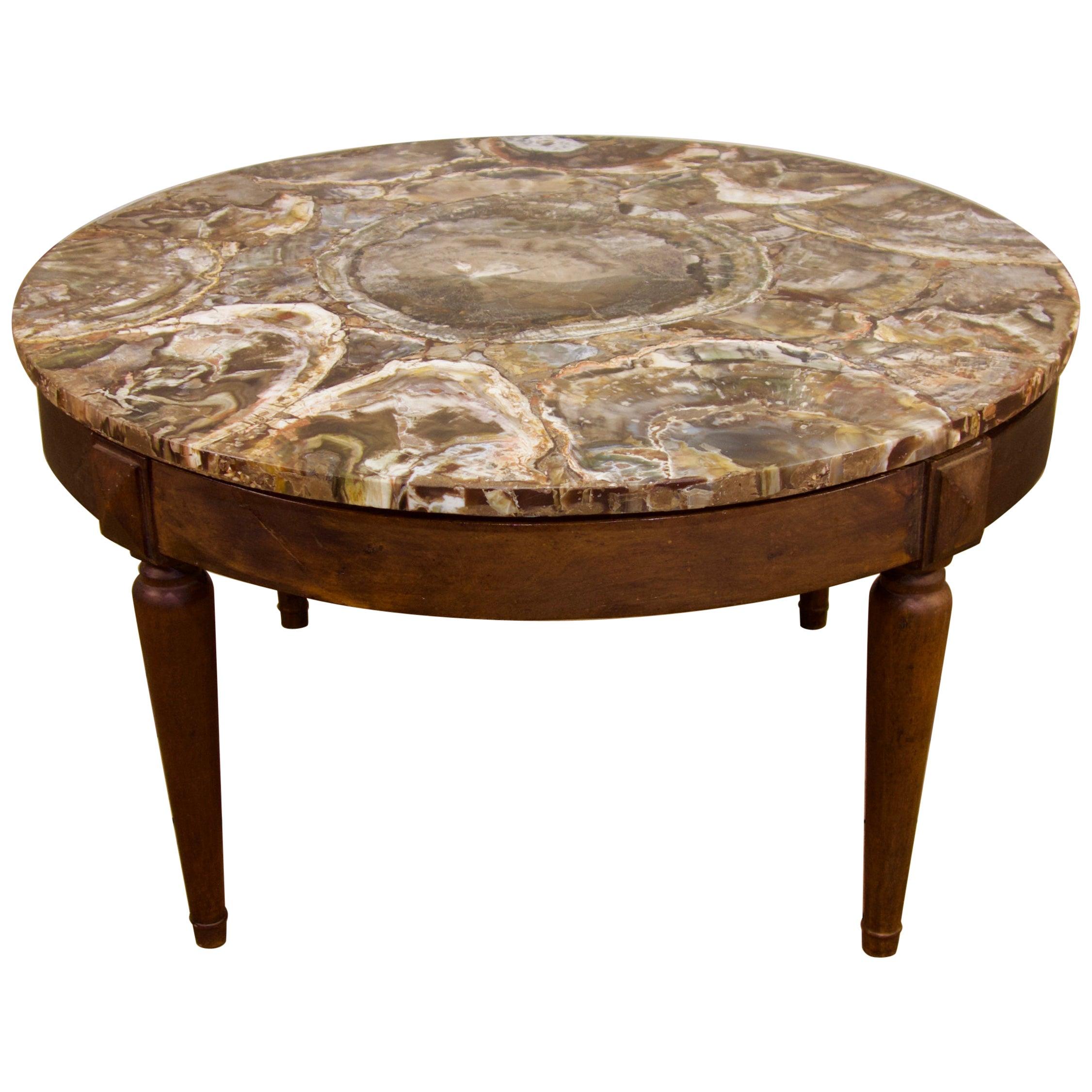Circular Petrified Wood Low, Coffee Table