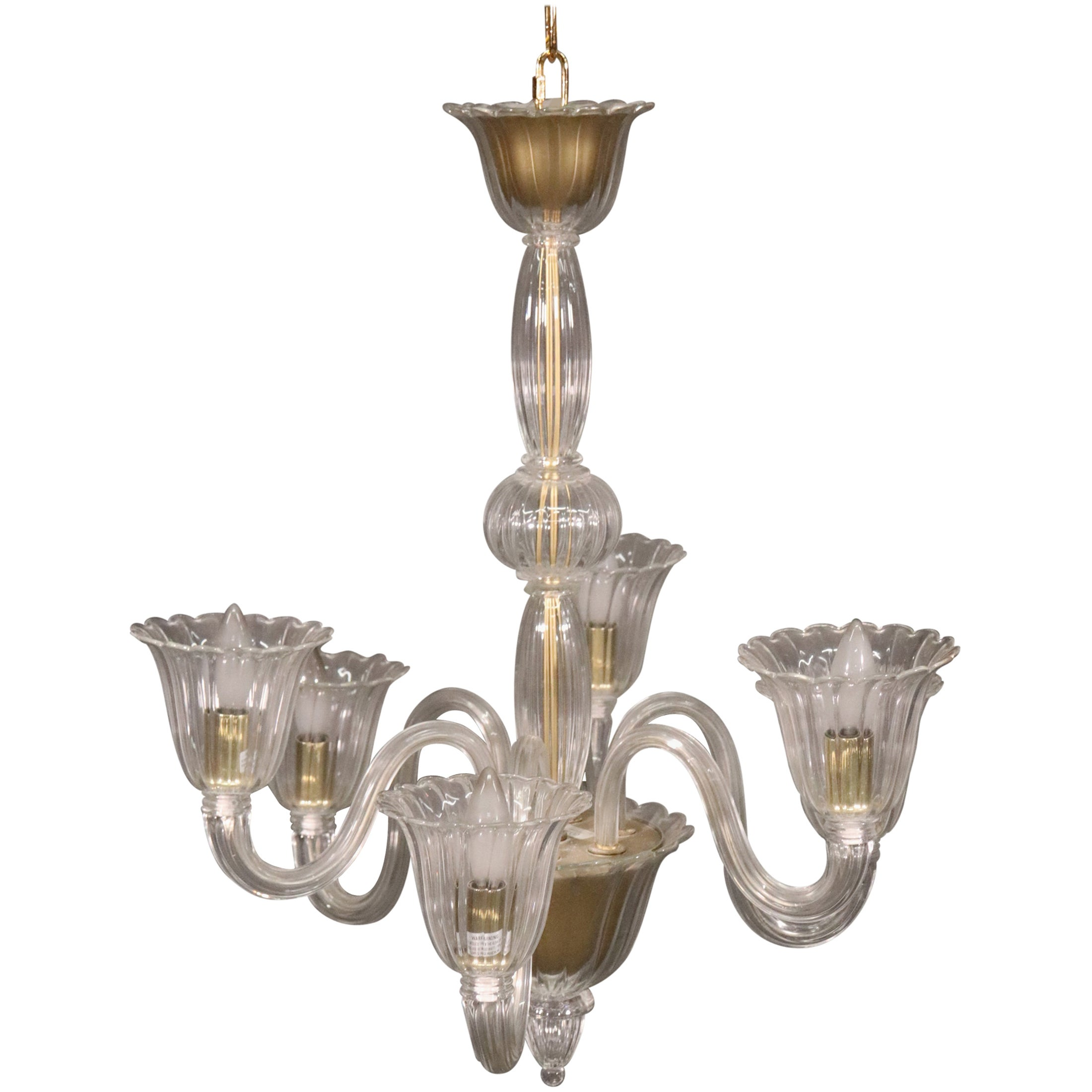 6-Arm Italian Murano Glass Chandelier