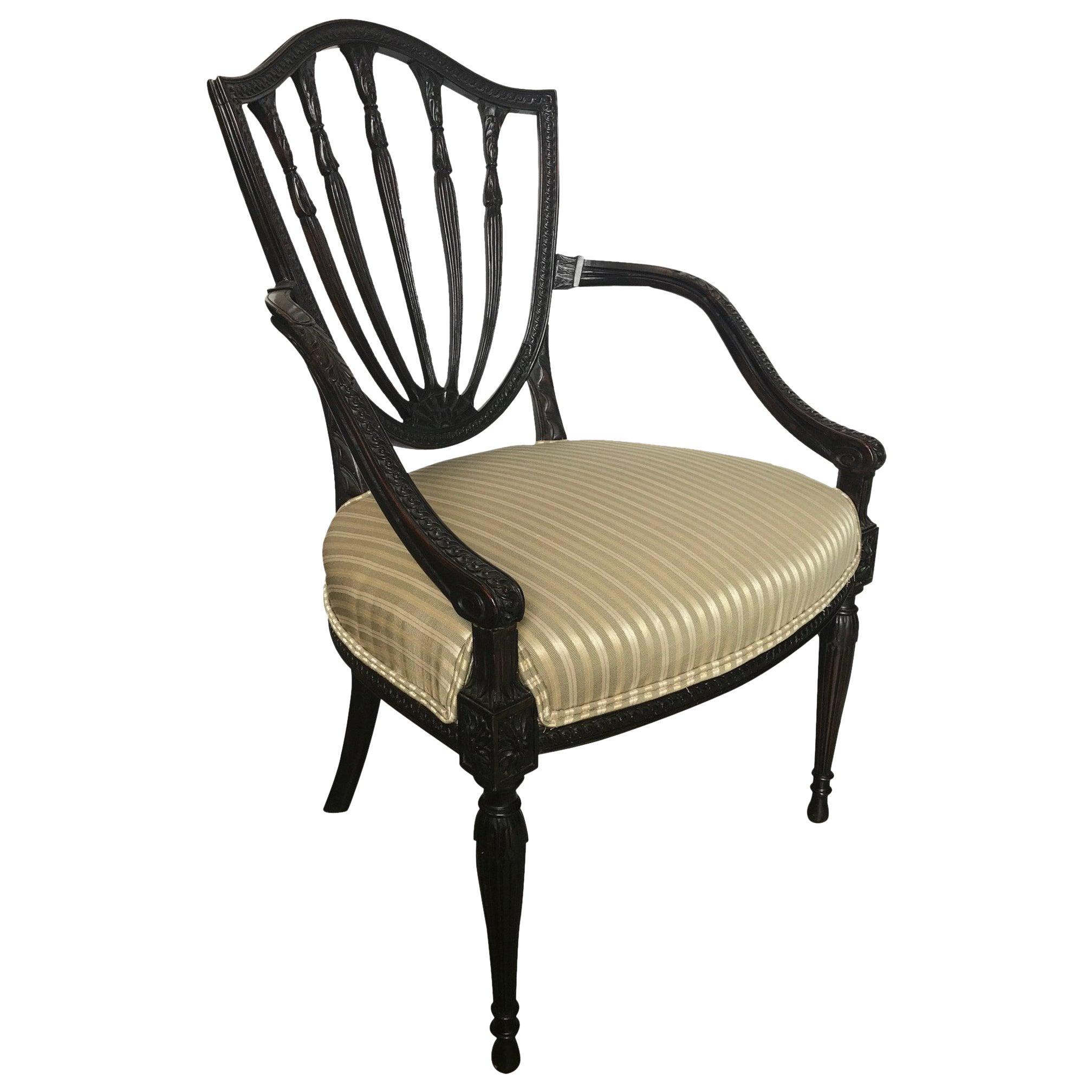 19th Century Hand Carved Hepplewhite Armchair Desk Chair