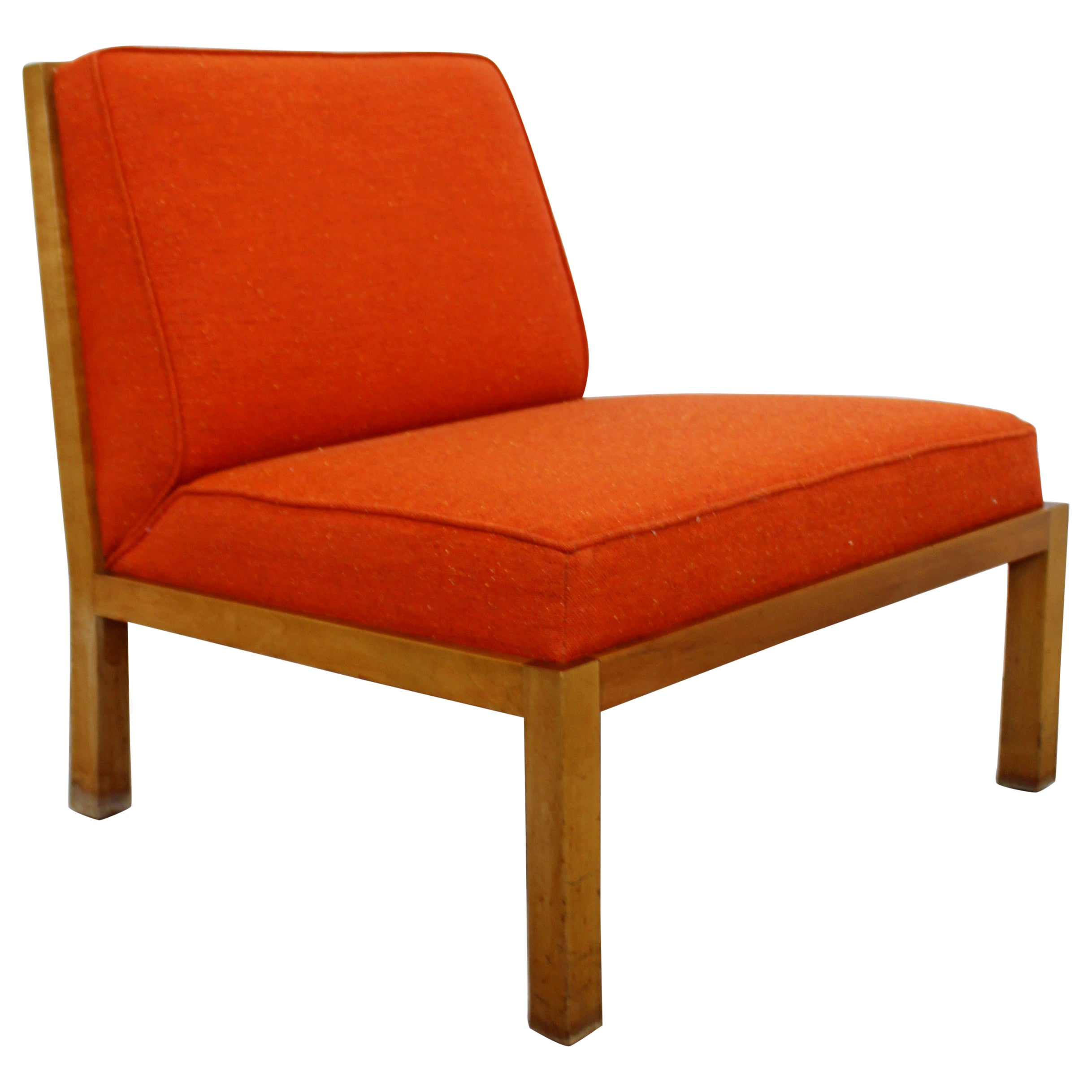 Mid-Century Modern Baker Wood Slat Back Side Lounge Accent Chair 1960s Orange