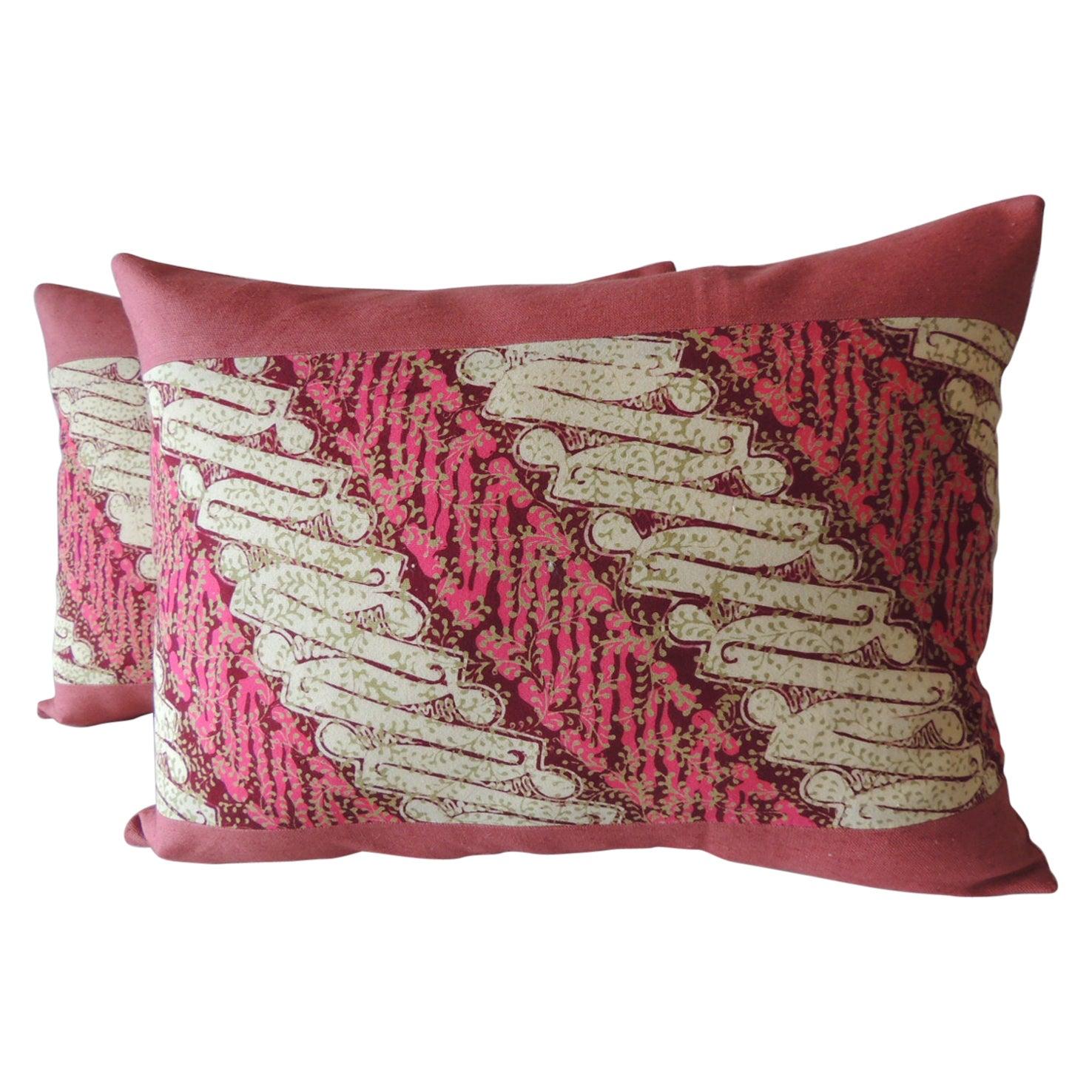 Pair of Vintage Pink and Red Batik Lumbar Decorative Pillows