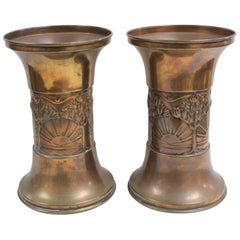 Pair of Brass/Copper Vases