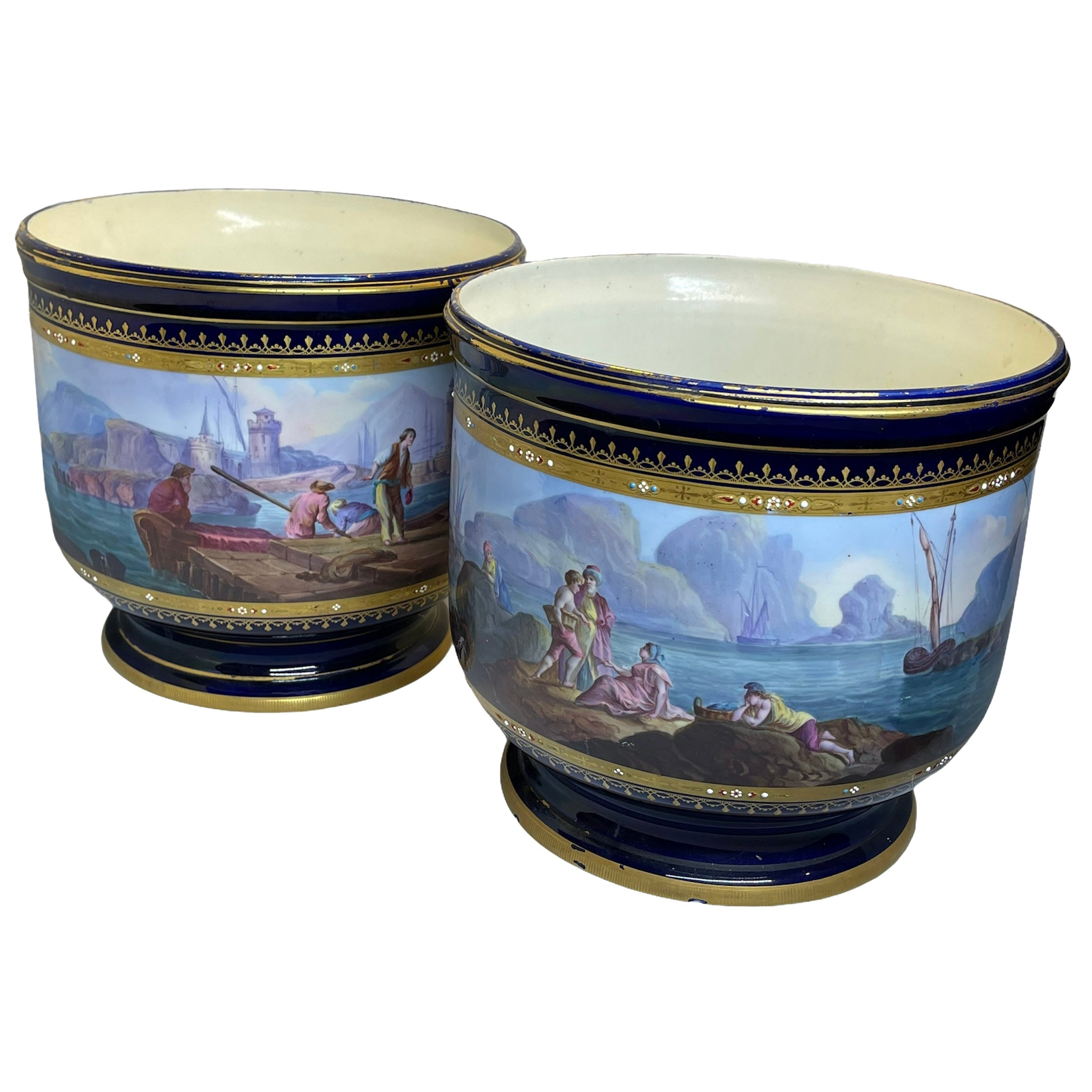 French Sèvres Style Porcelain Pair of Cachepot