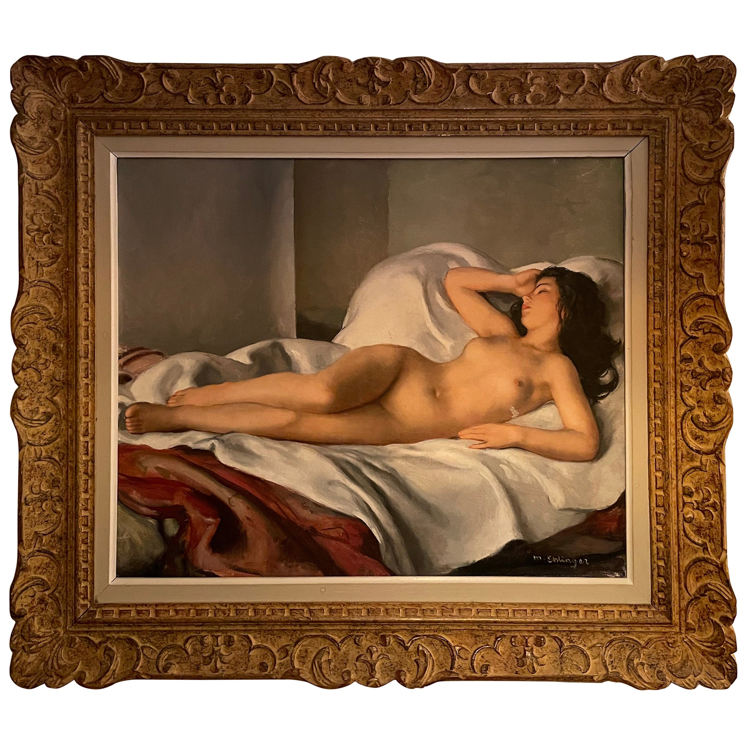 Oil on Canvas Painting 'Someil' Maurice Ehlinger