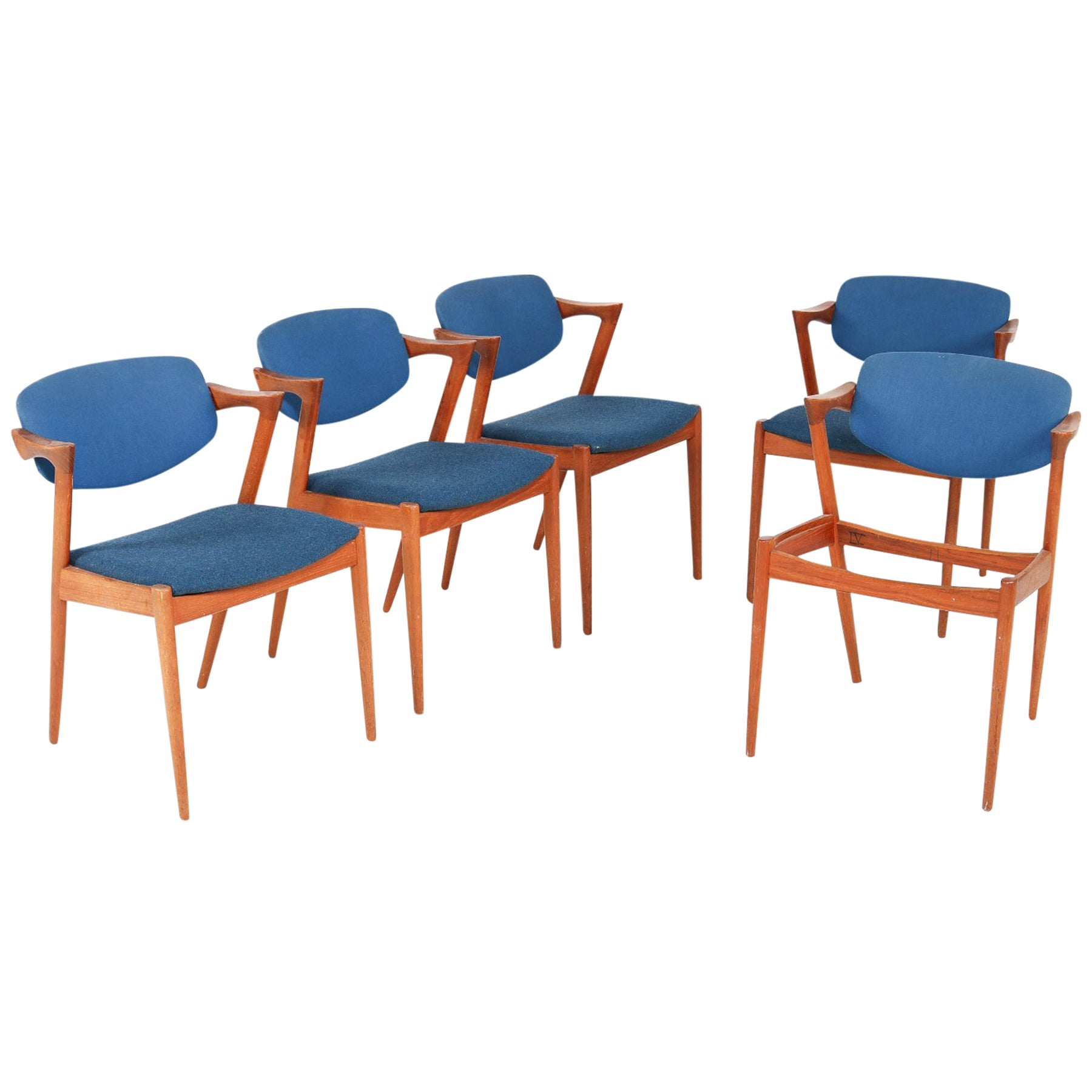 Set of Five Kai Kristiansen Model 42 Danish Modern Dining Chairs in Teak