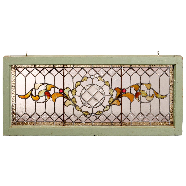 Antique Arts & Crafts Mosaic Leaded Beveled & Jeweled Glass Window, c1900