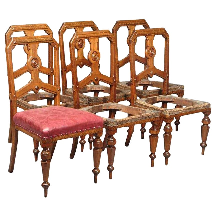 Charles Bevan, Attr. for Gillow's a Set of Six Gothic Revival Oak Dining Chairs