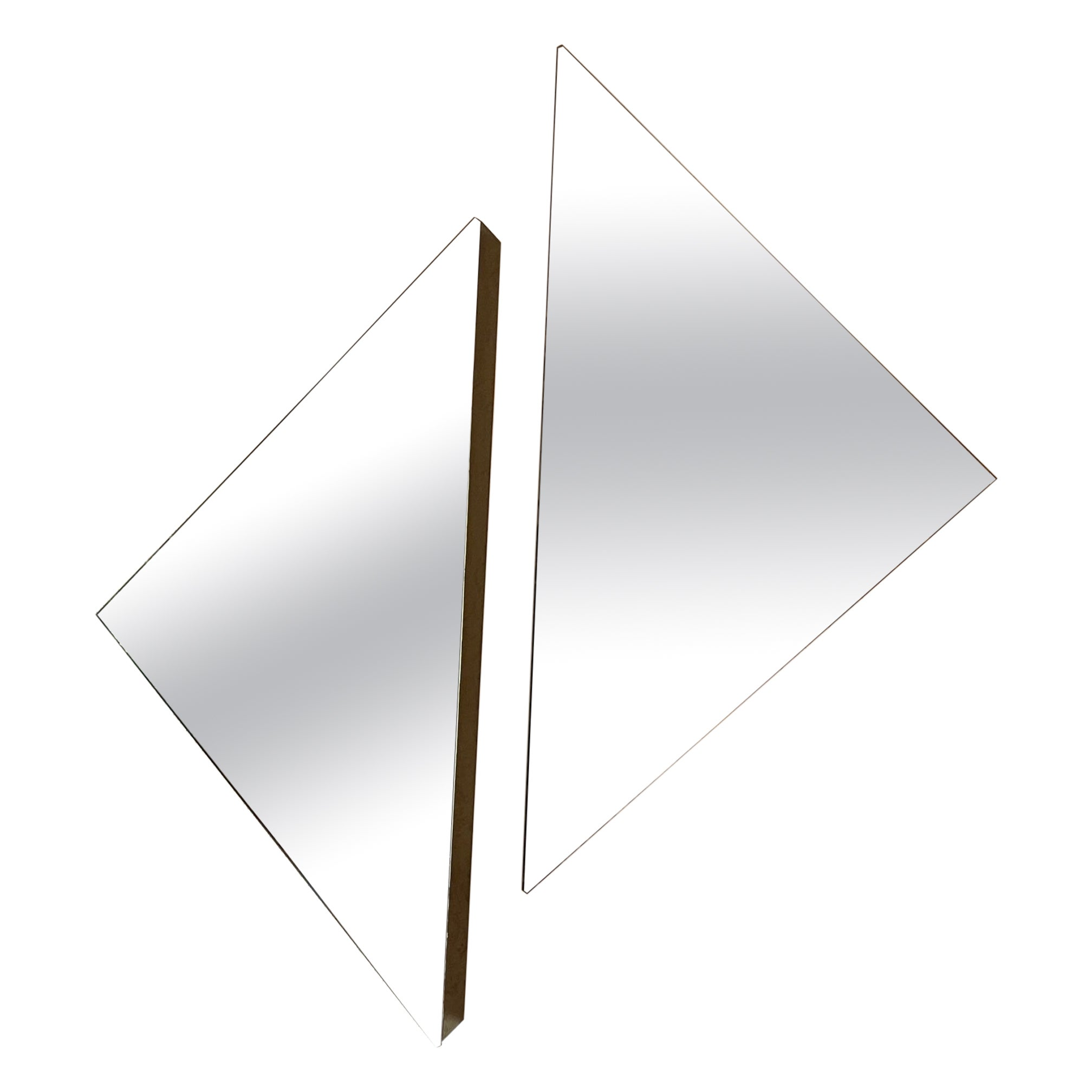 Pair of Triangle Shaped Contemporary Modern Frameless Mirrors, 20th Century
