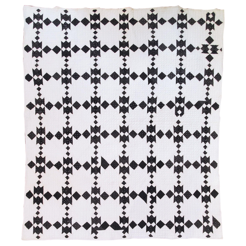 19th Century Black and White Geometric Quilt