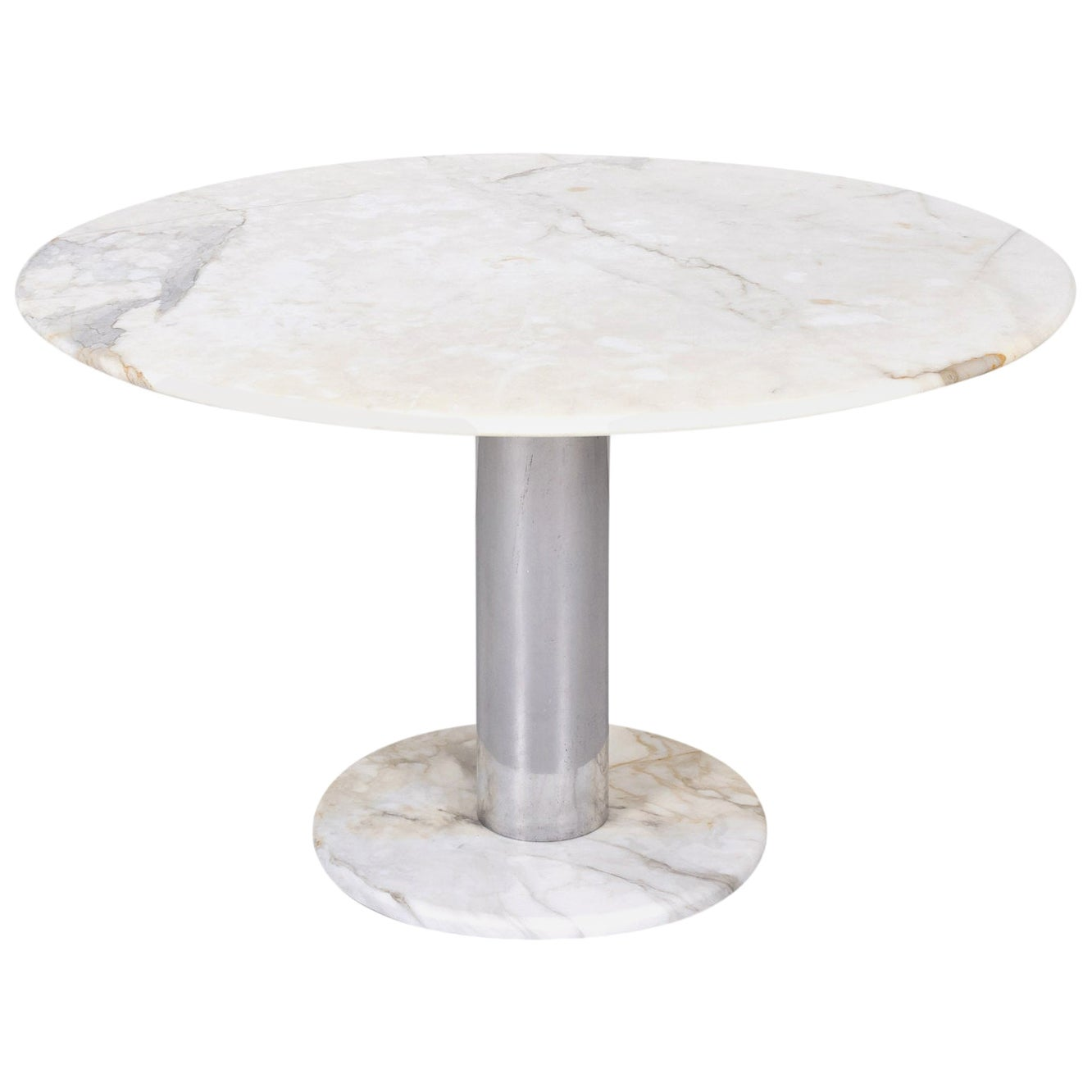 1970s French Round Carrara Marble-Top Pedestal Dining Table with Marble Base