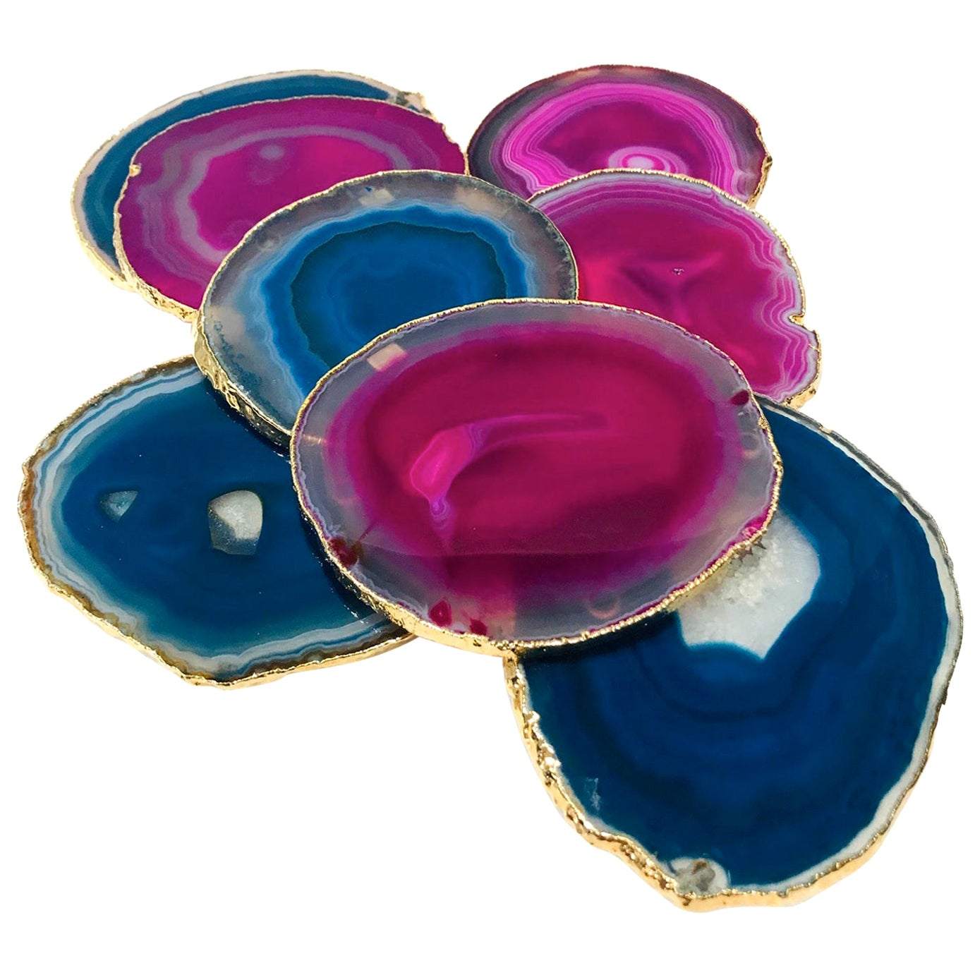 Set/ 8 Semi-Precious Gemstone Coasters in Pink and Turquoise with 24K Gold Trim