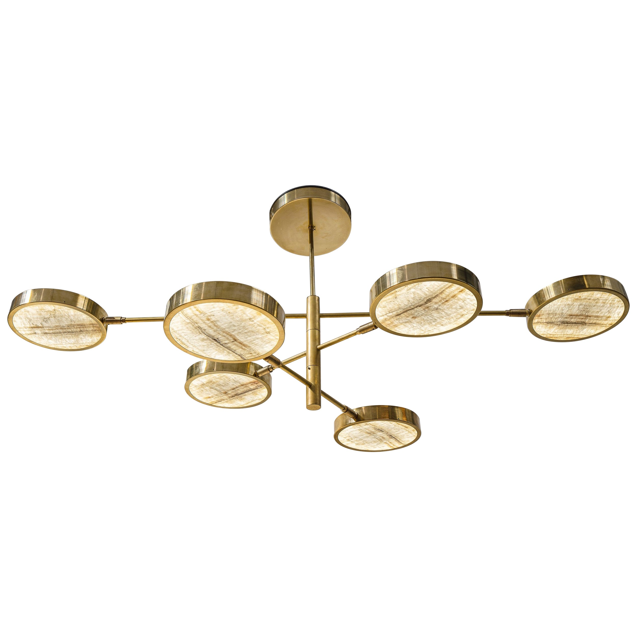 Sistema Solare, Luxury Ivory Onyx and Brass 6 Rotating Orbitale Arms Chandelier