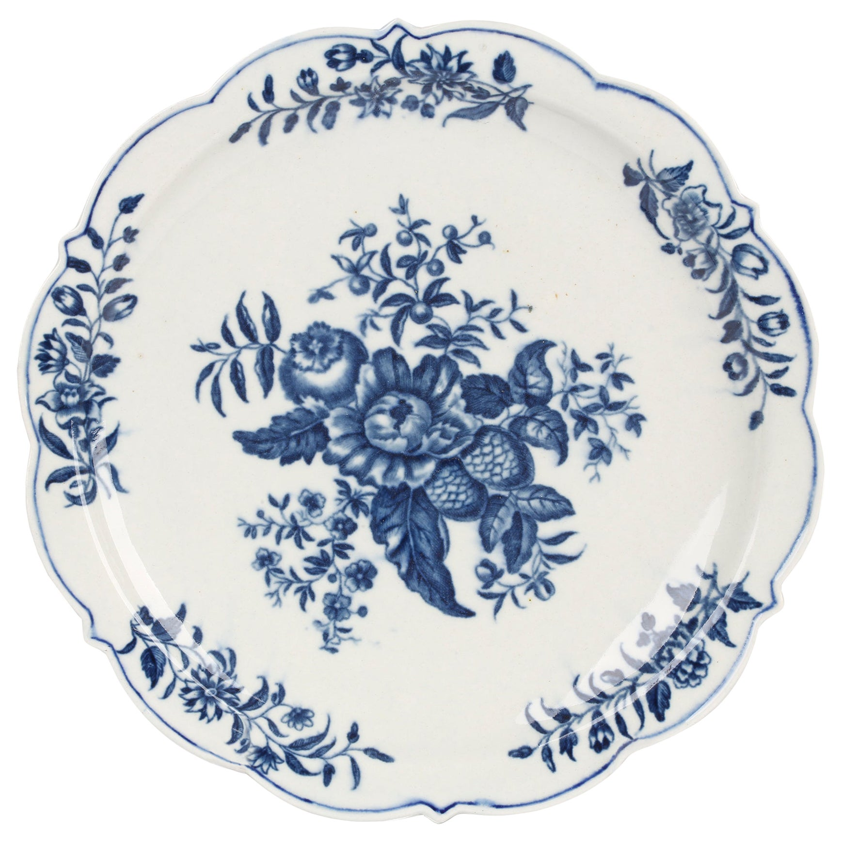 Worcester Early Dr Wall Period Pine Cone Porcelain Plate, circa 1760