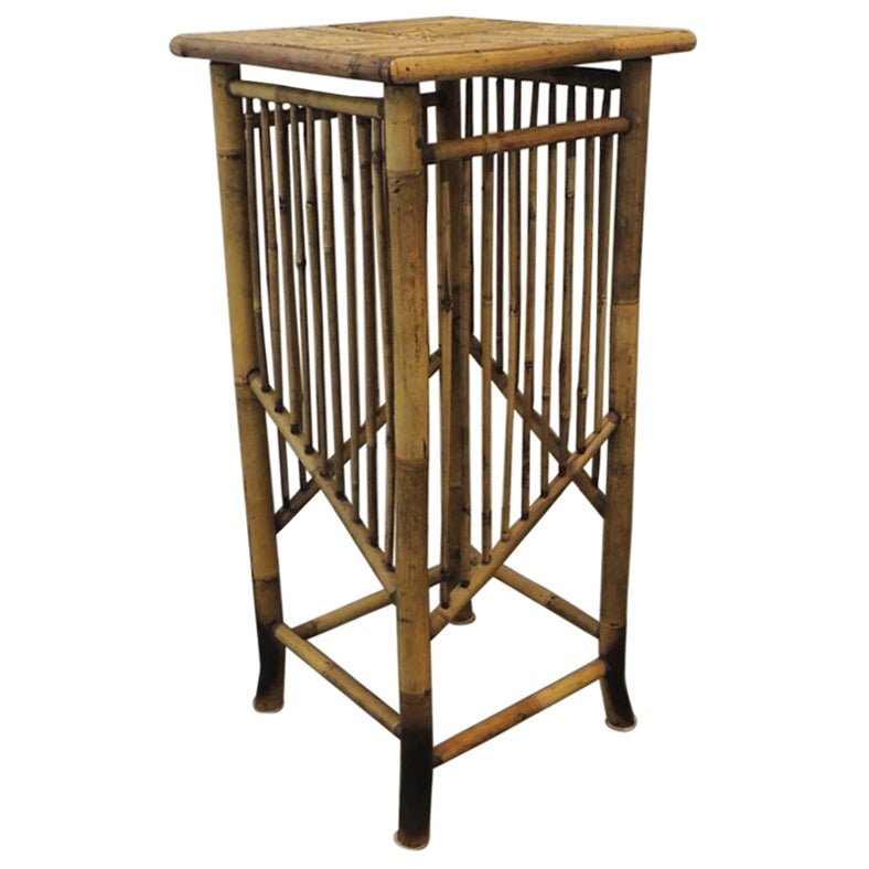 Vintage Faux Tortoise Bamboo Pedestal or Plant Stand