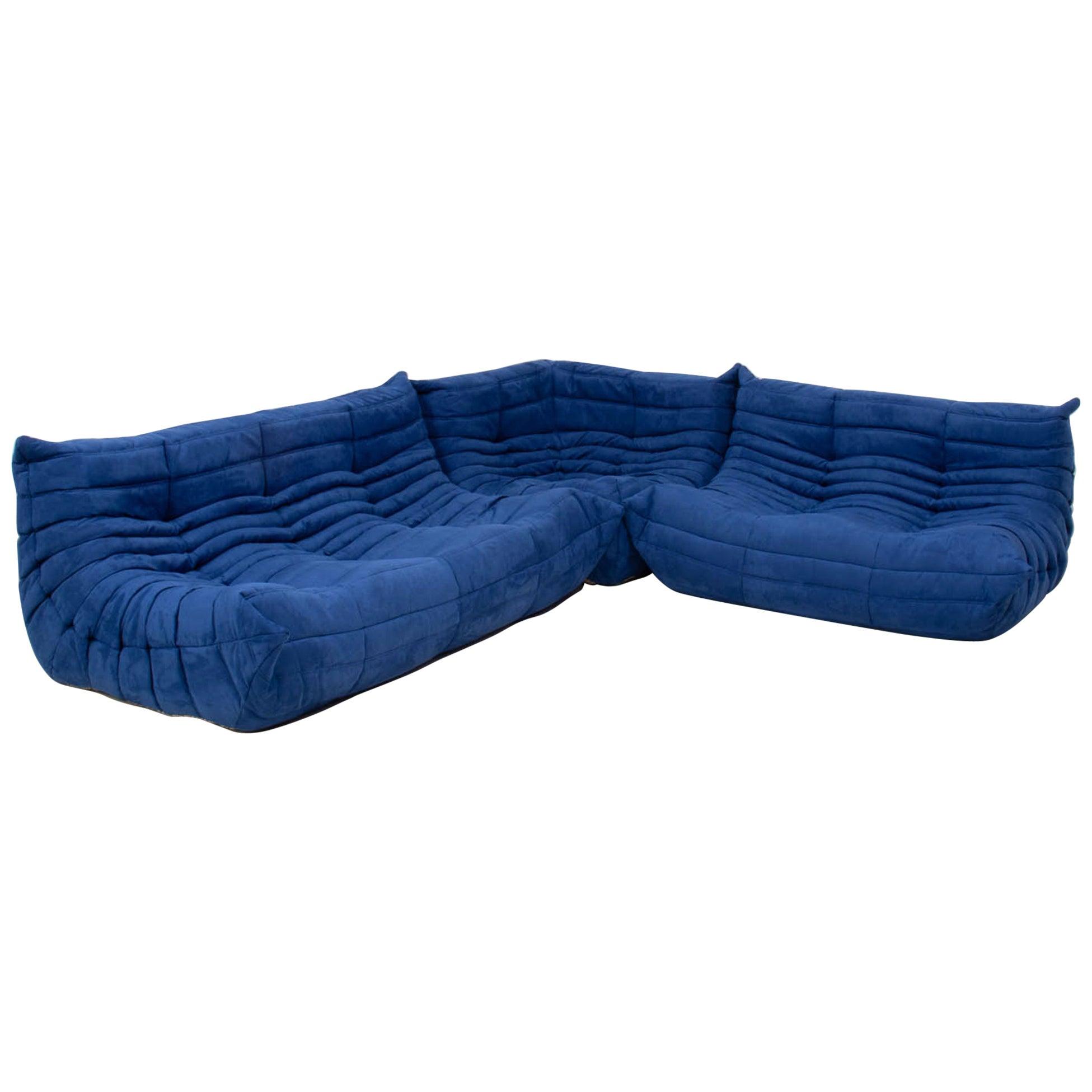 Michel Ducaroy for Ligne Roset Togo Blue Modular Sofa, Set of 3