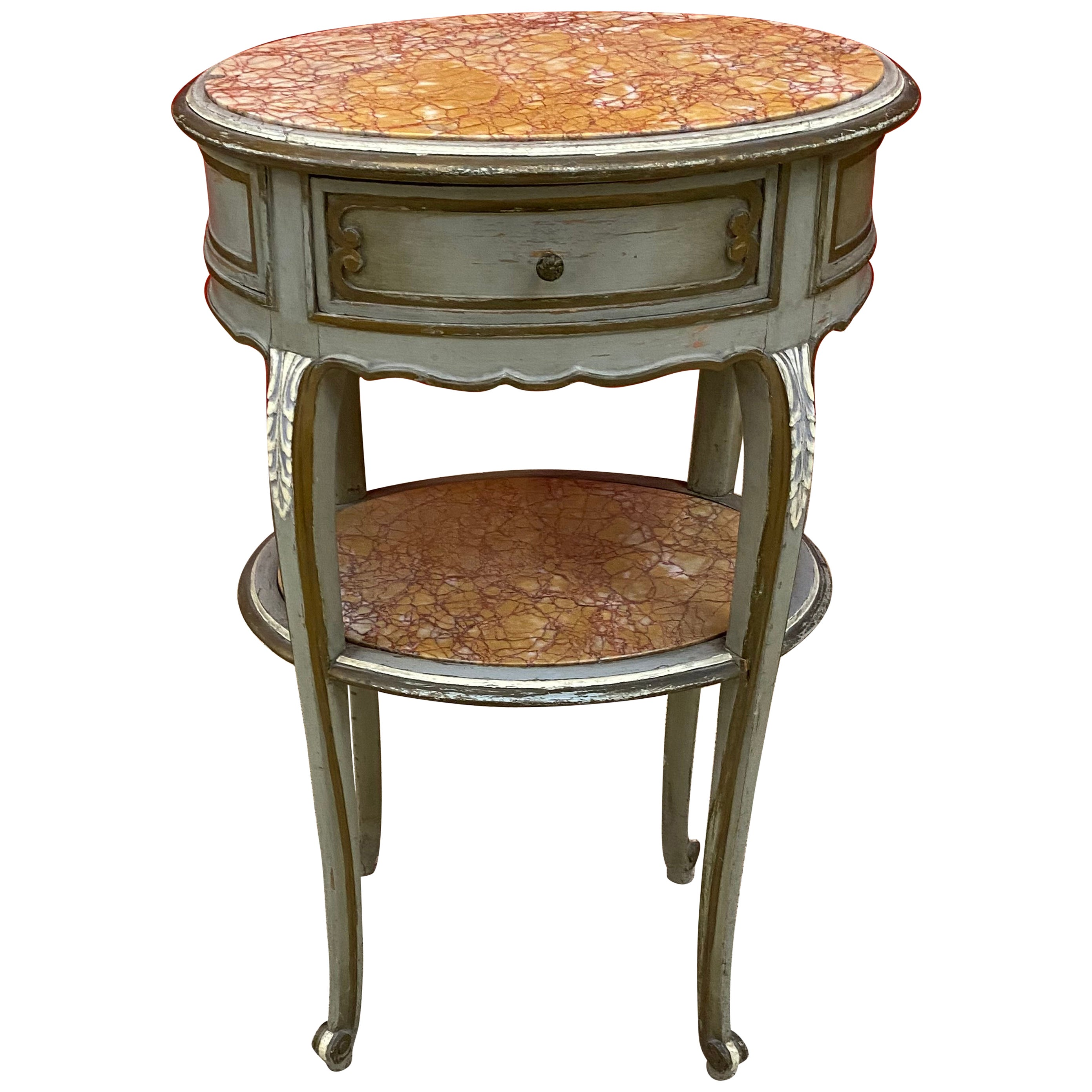 Louis XV Style Bedside Table or Side Table in Patinated Wood and Marble