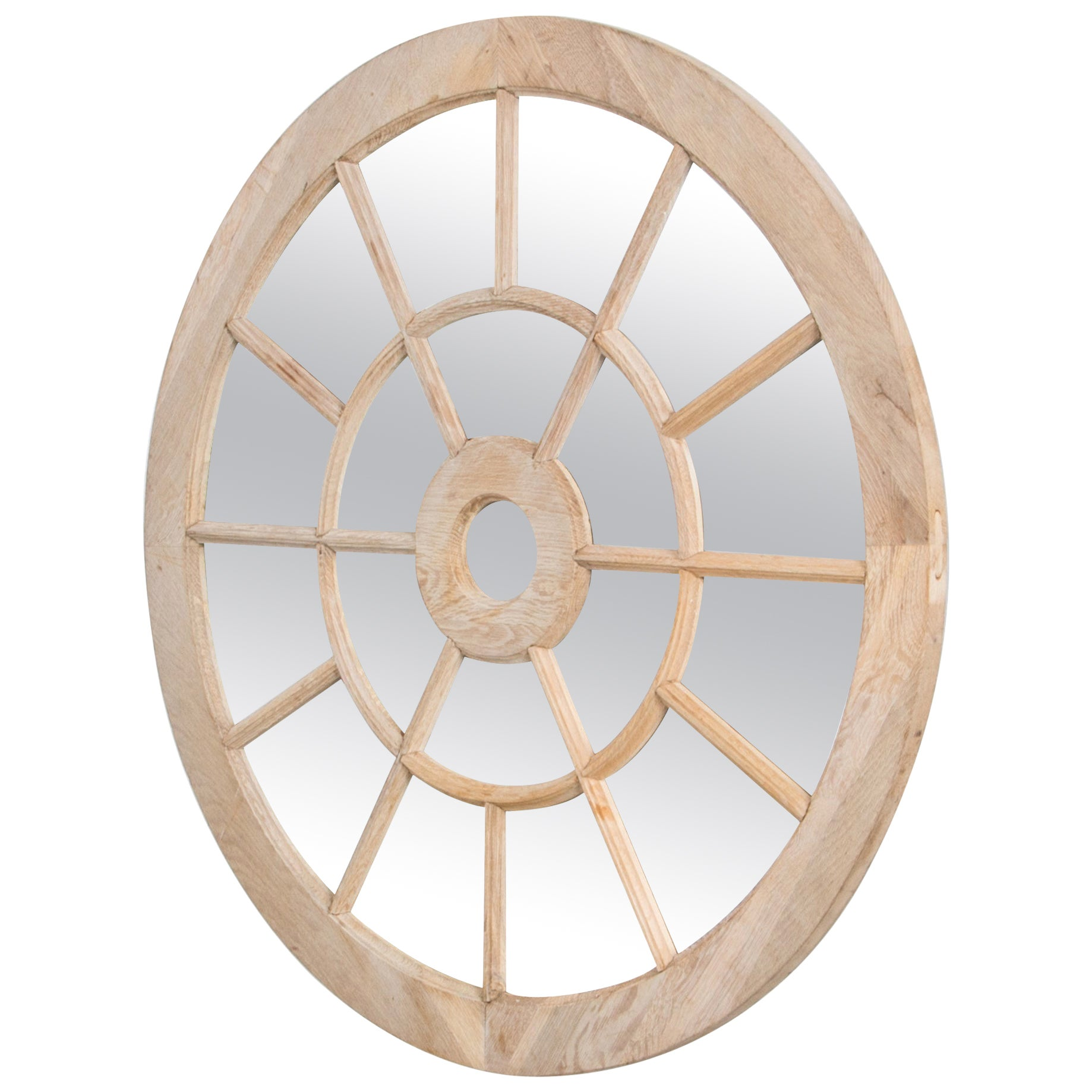 Oak Round Window Mirror