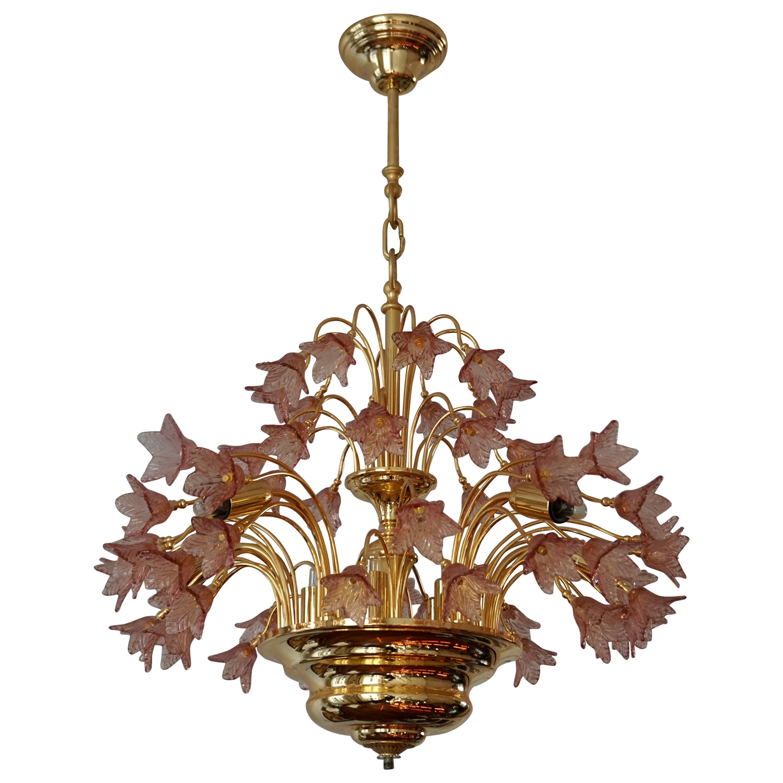 Italian Brass and Murano Glass Flower Chandelier