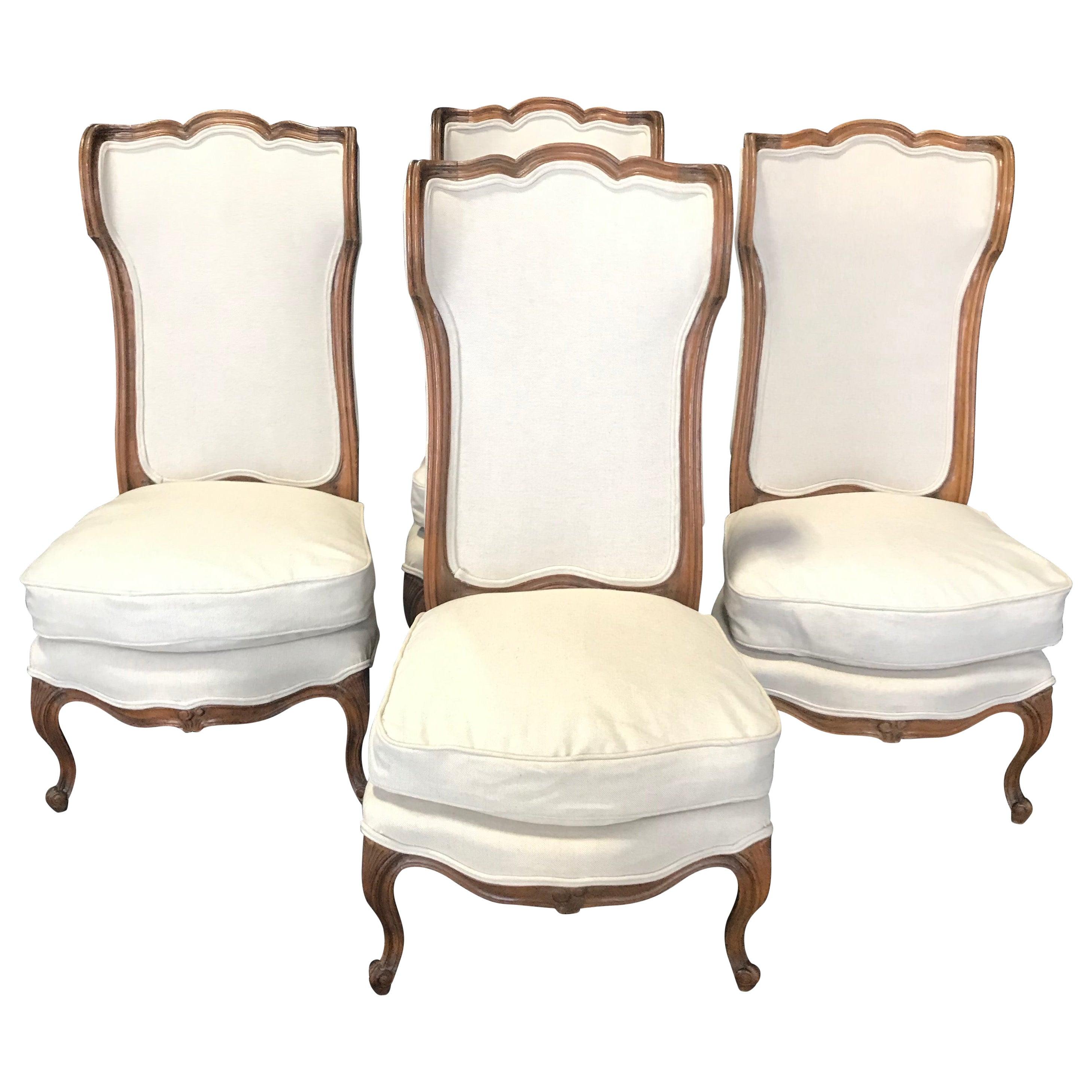 Set of Four 19th Century Curvy Elegant French Louis XVI Style Wingback Bergères