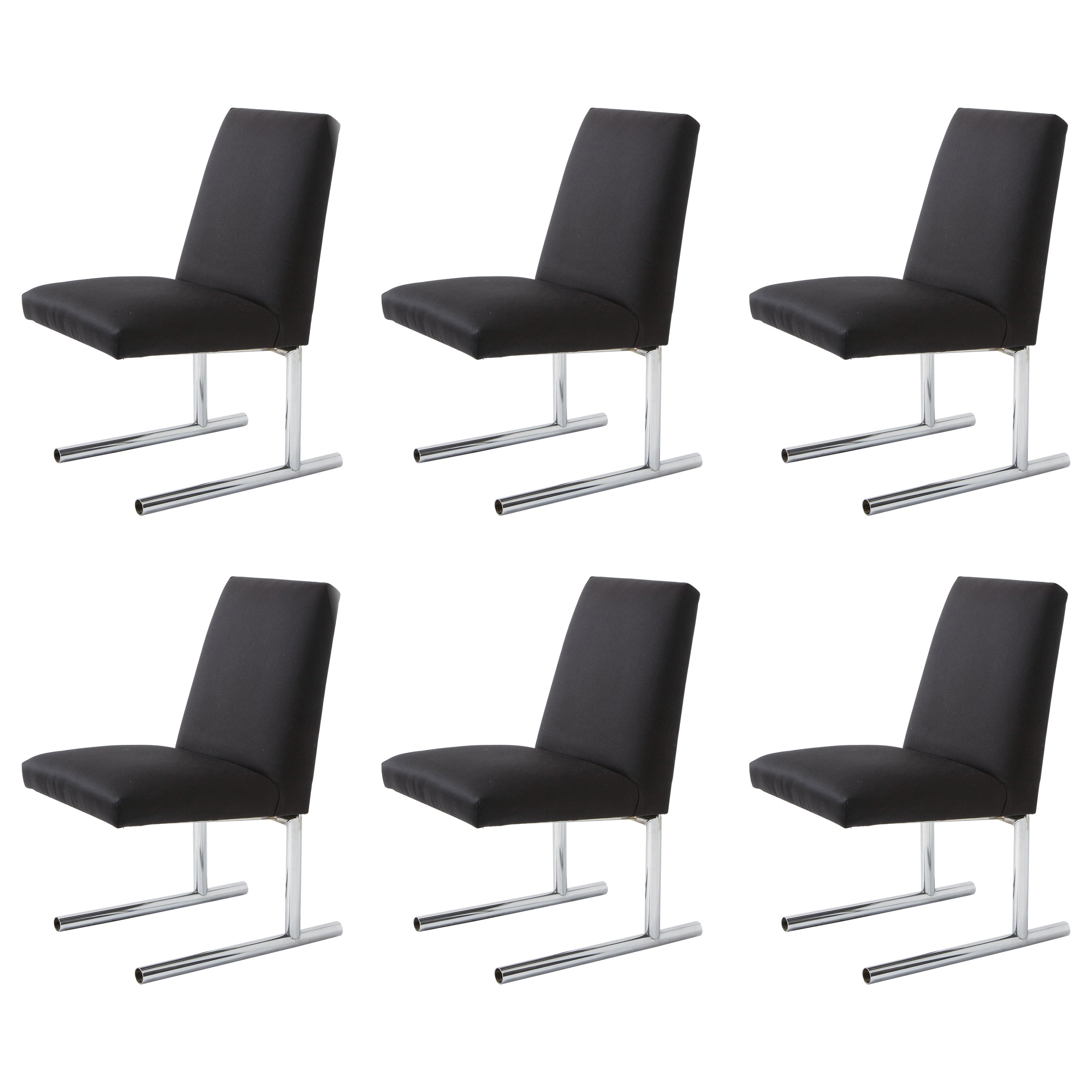 Set of 6 Italian Dining Chairs with Tubed Chrome Legs, 1980s