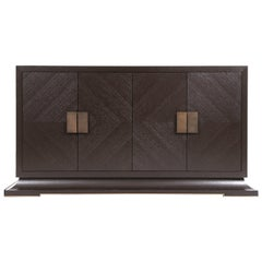 Modern Large Sideboard with Hand Hammered Brass Handles and Hidden Drawers