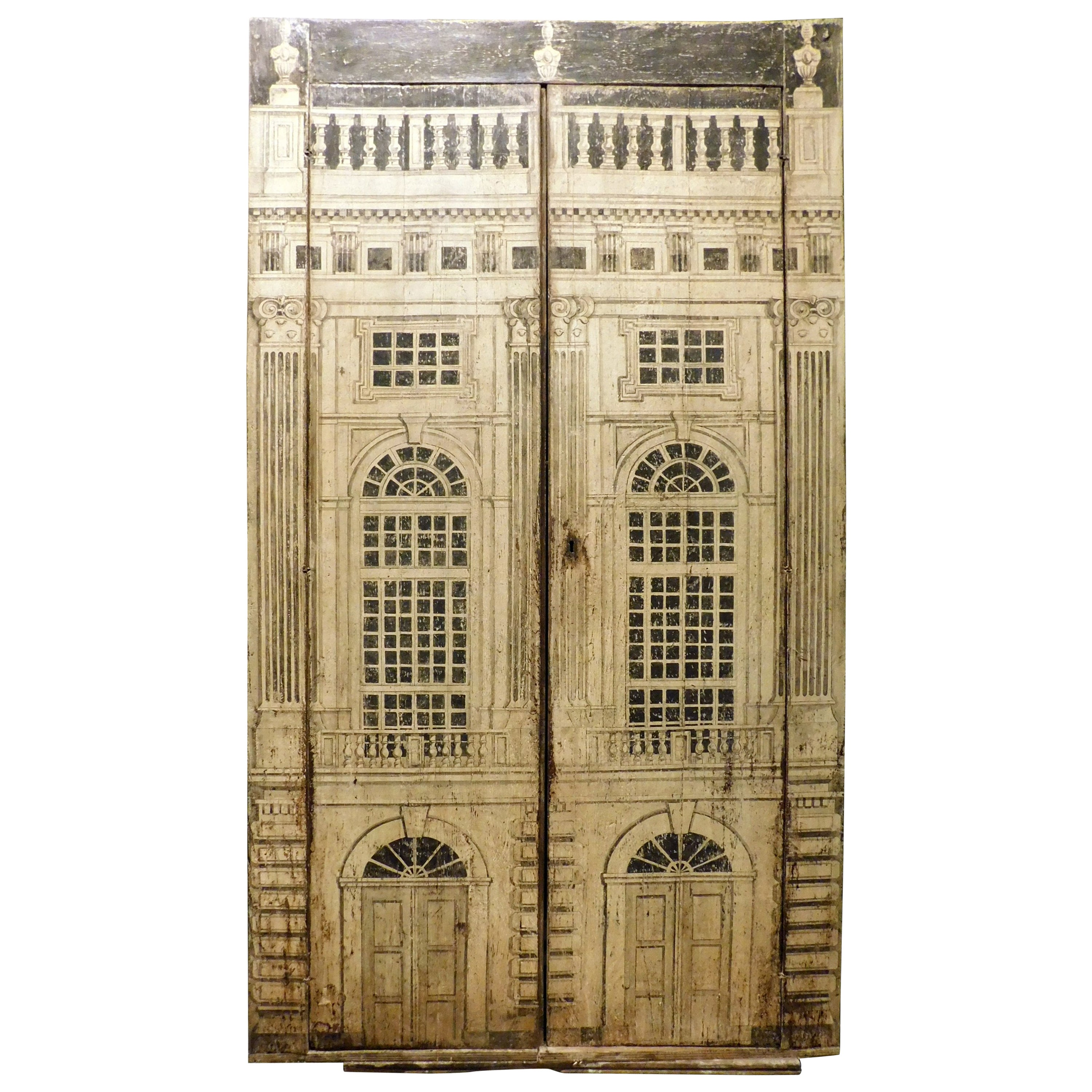 Vintage Door Placard Lacquered Cupboard, Fornasetti School, 20th Century, Italy