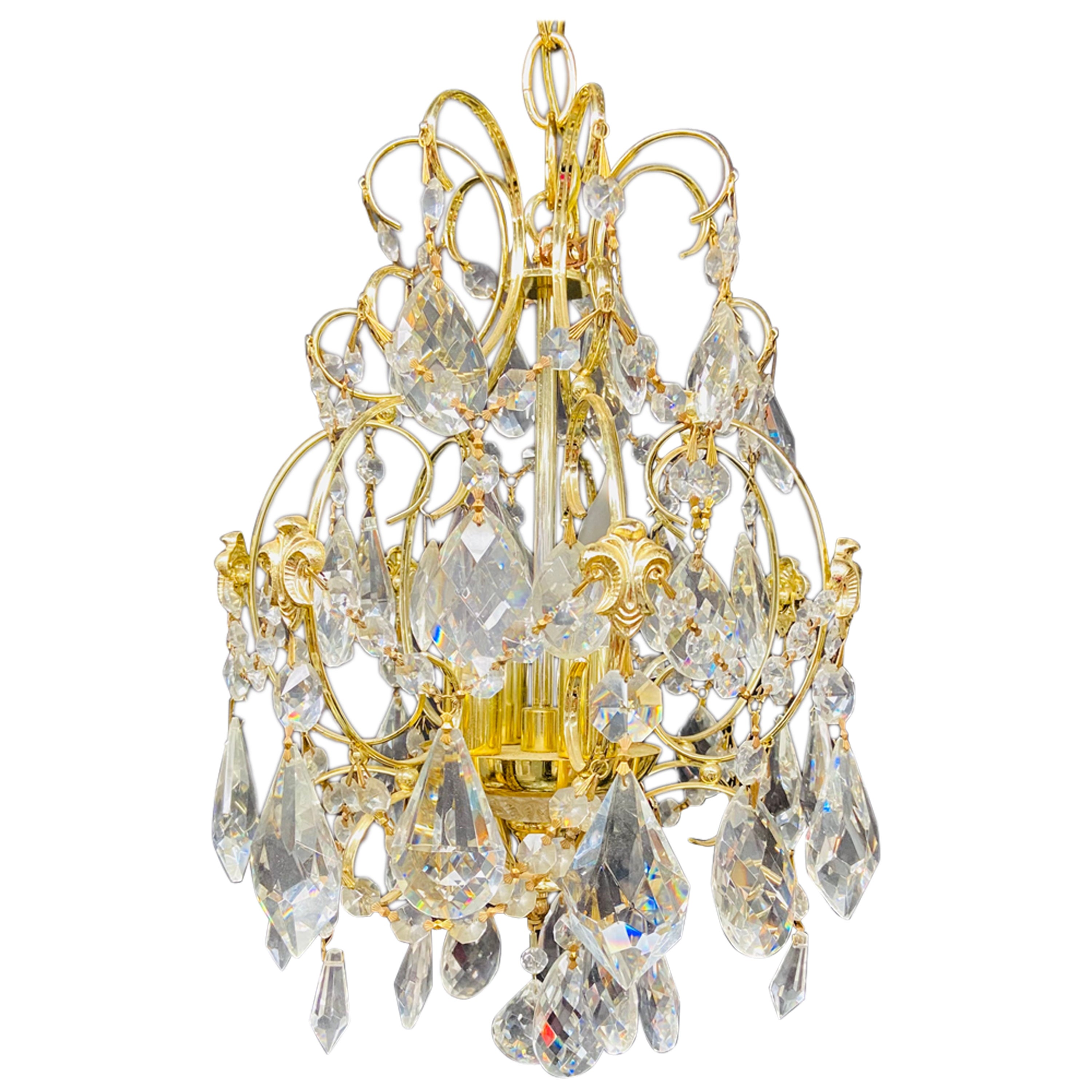 Small Hollywood Regency Style Crystal Brass Chandelier