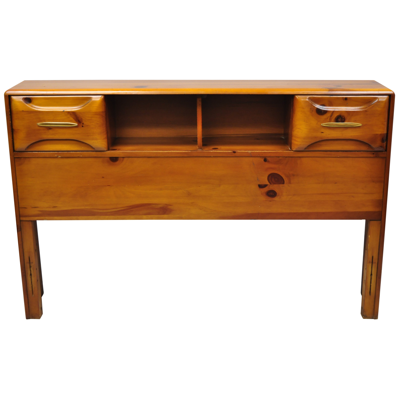 Midcentury Franklin Shockey Full Size Sculptured Pine Wood Storage Bed Headboard