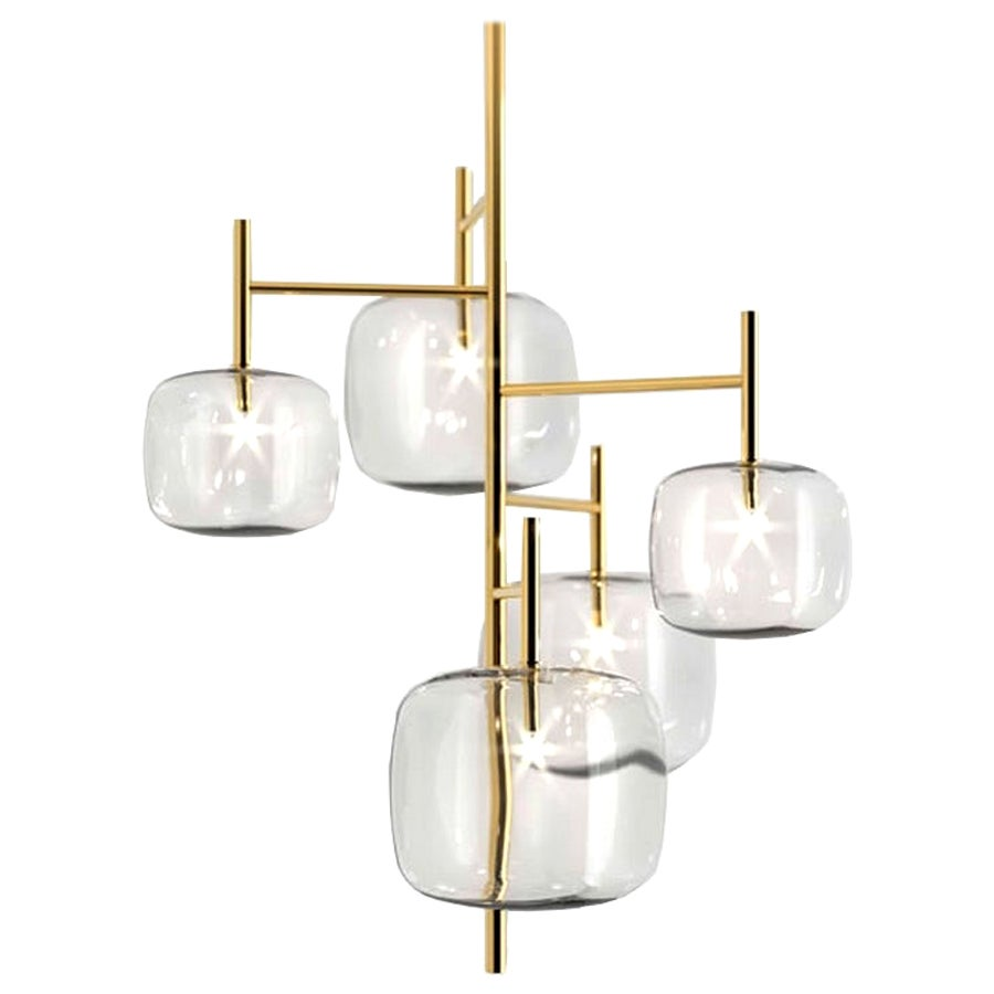 Moderno, Glass Pendant Lamp with 5-Lights by Massimo Castagna, Made in Italy