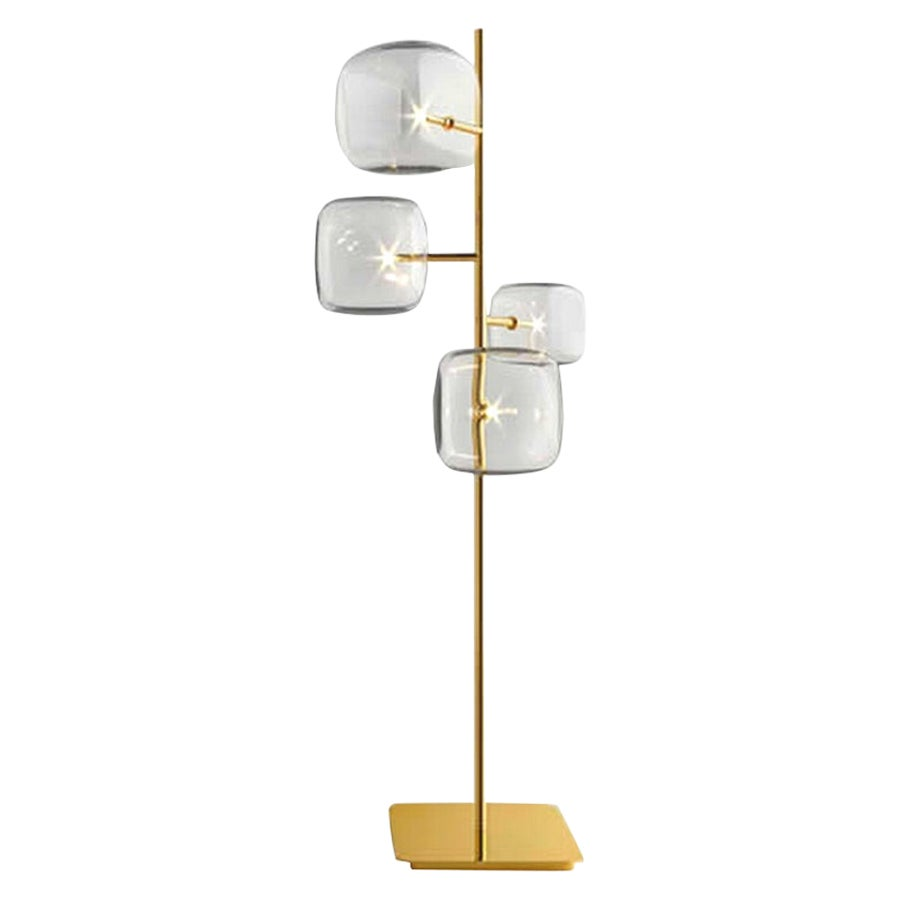 Moderno, Glass Floor Lamp with 4-Lights by Massimo Castagna, Made in Italy