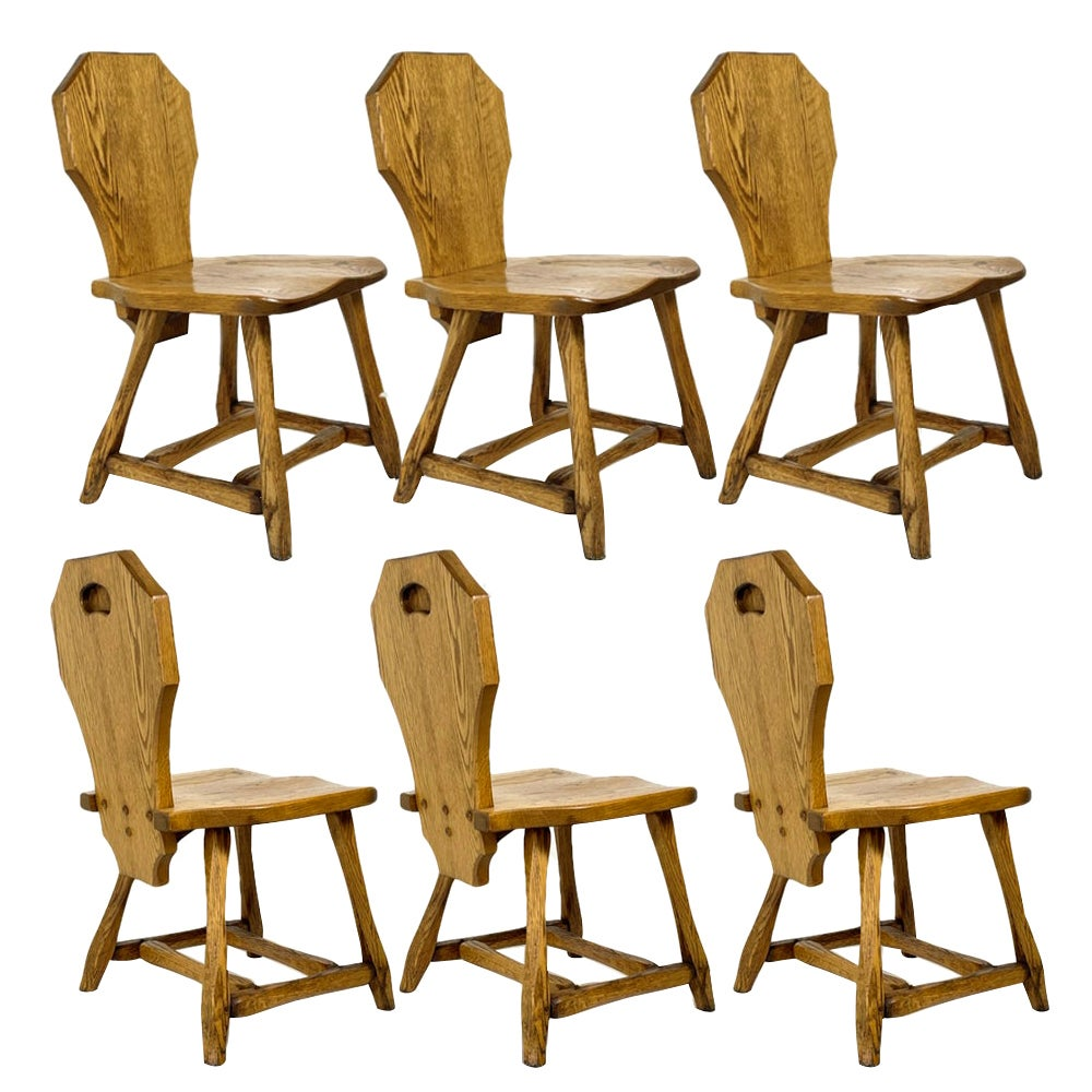 6 Rustic Utilitarian Carved Solid Oak Craftsman Dining Chairs