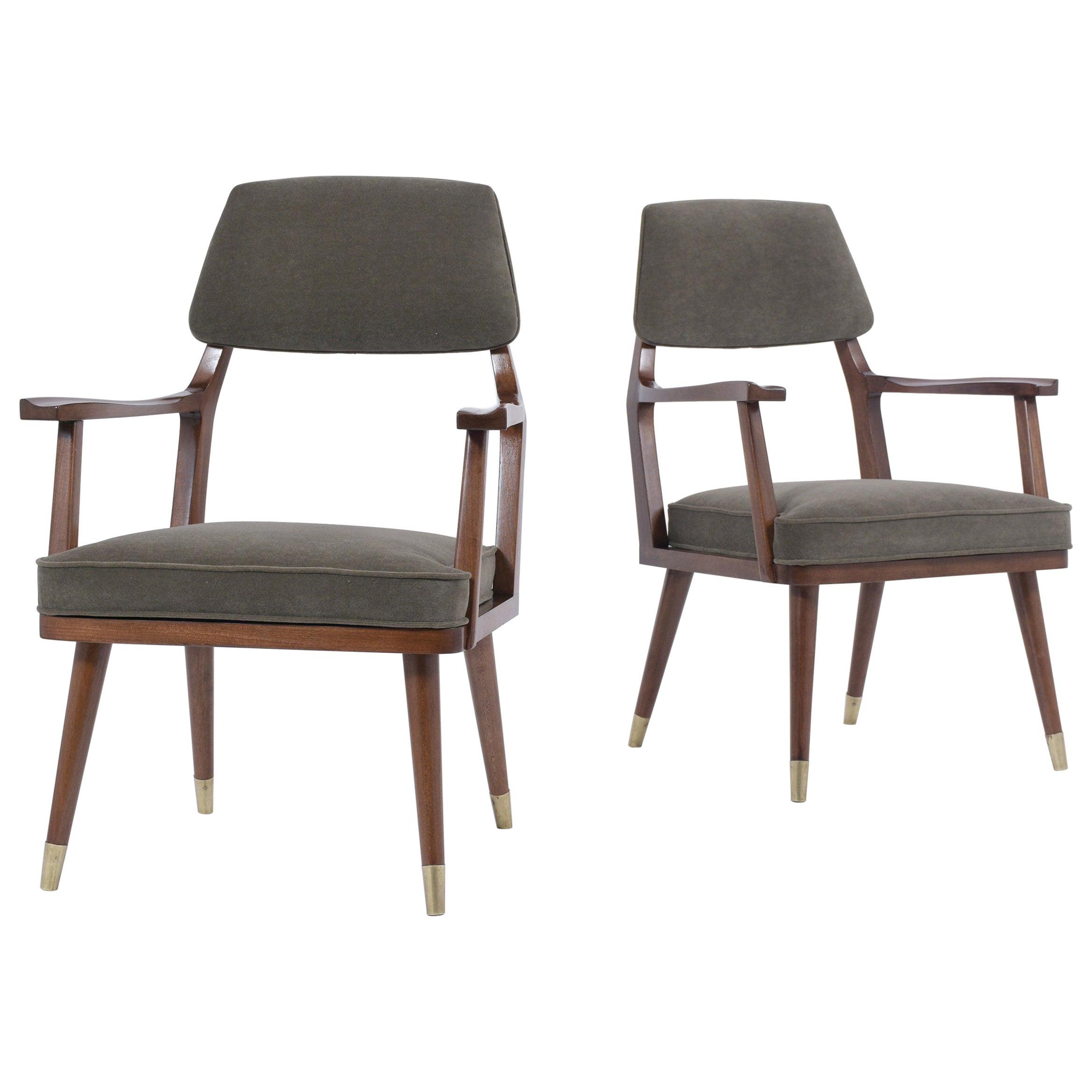 Pair of 1960's Mid-Century Modern Walnut Armchairs