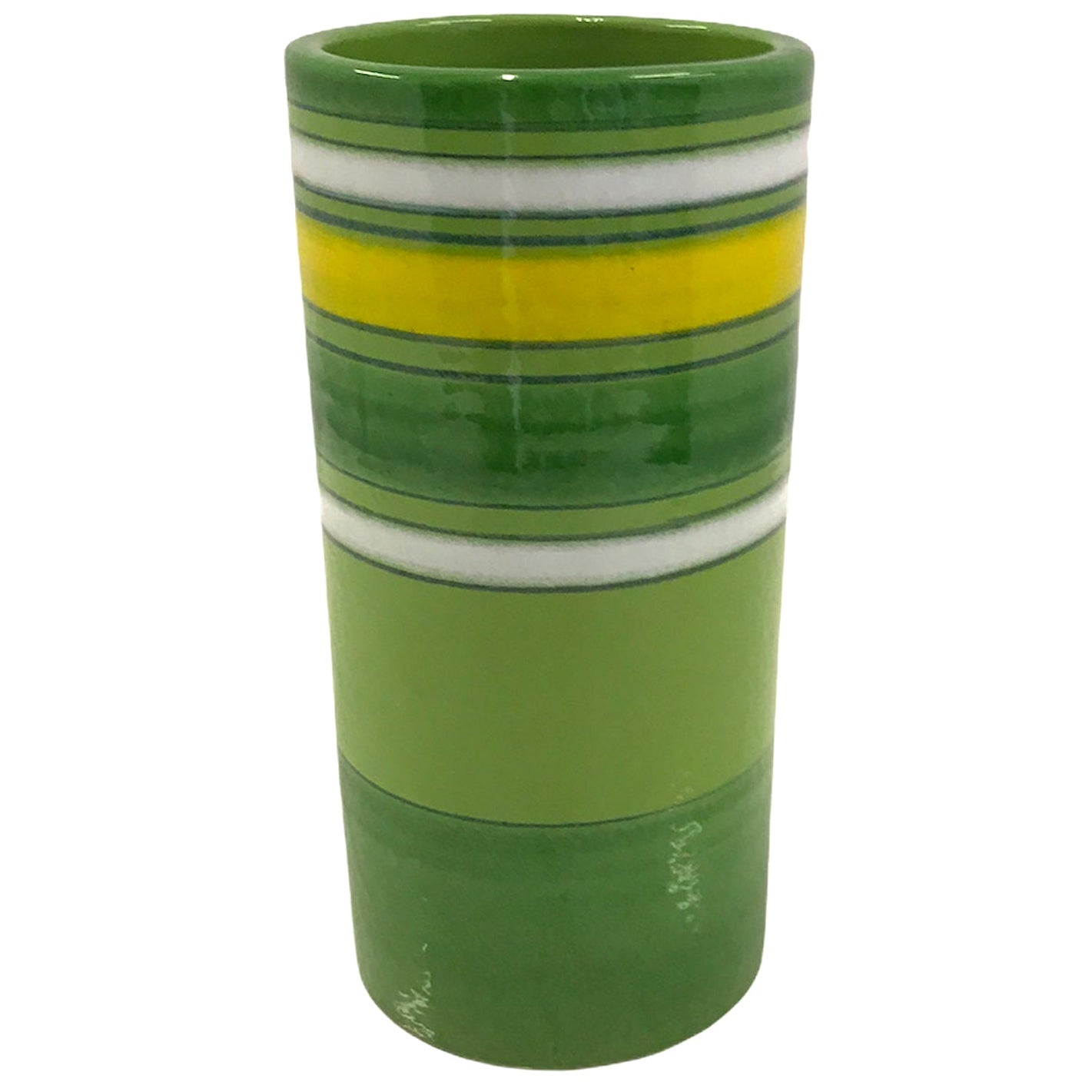 Aldo Londi Bitossi Fascie Colorate Green Cylindrical Vase Rosenthal Netter 70s