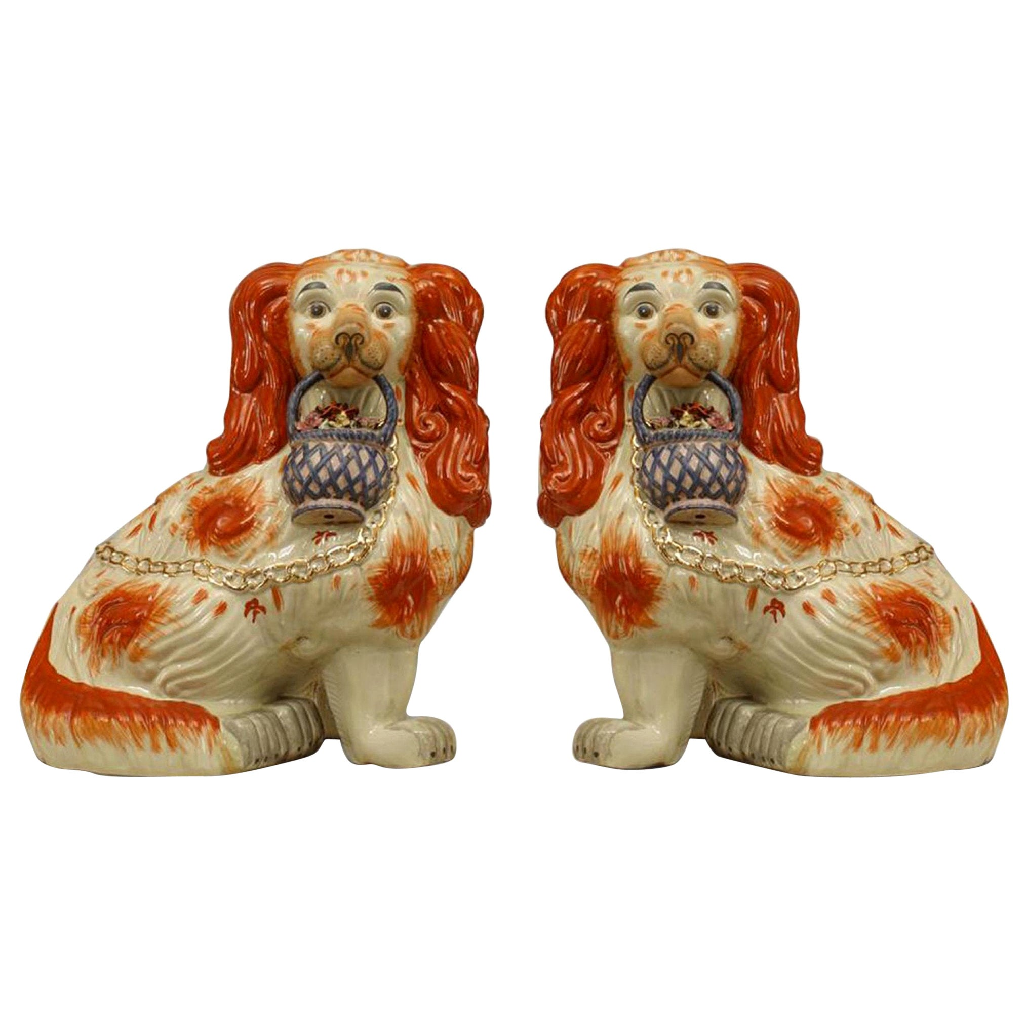 Pair of Victorian Porcelain Staffordshire Dog Figures