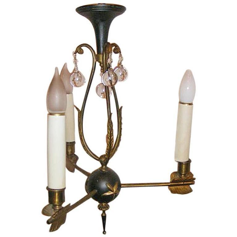 Three-Light Empire Bronze Chandelier For Sale