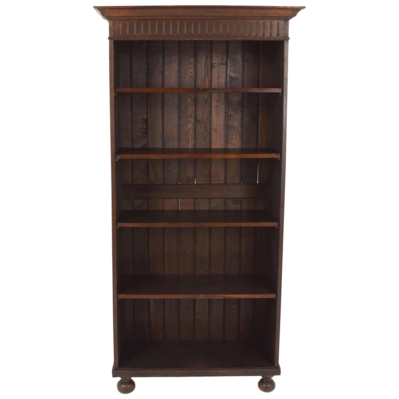 Antique Tall Oak Open Bookcase, Display Cabinet, Scotland 1910, B1645