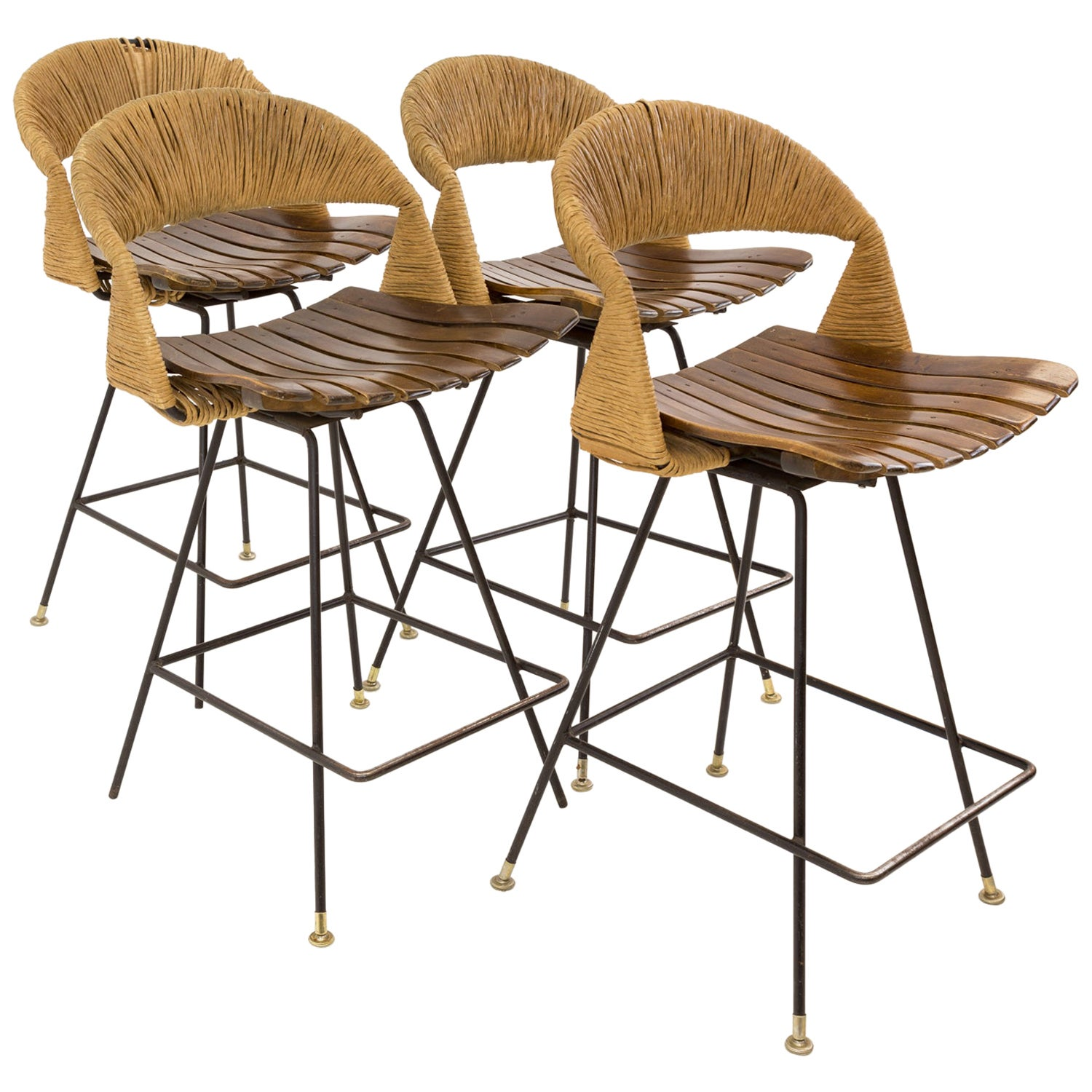 Arthur Umanoff Mid Century Tiki Iron Bar Stools, Set of 4