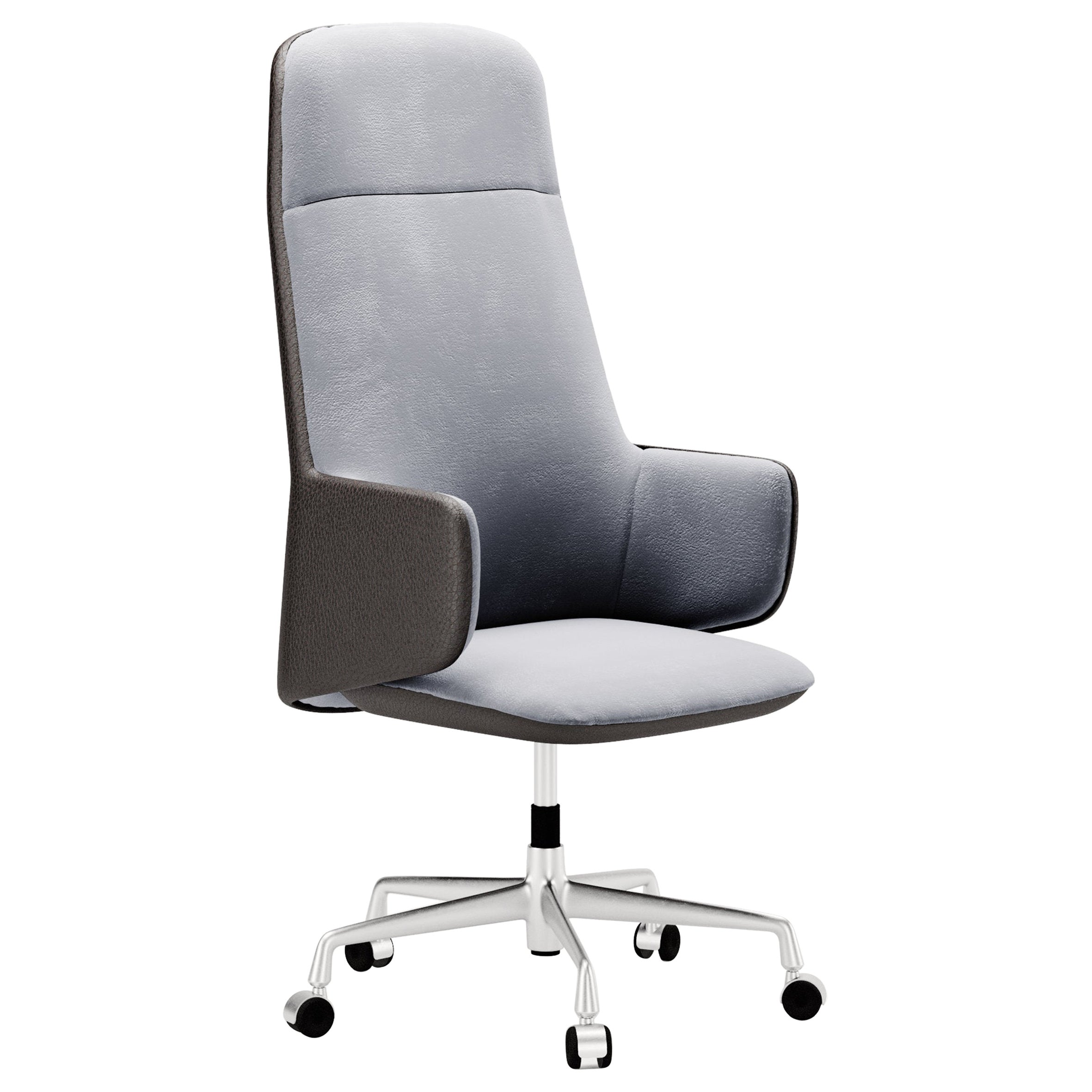 Contemporary Office Chair by Fabio Arcaini Velvet Leather Nabuk
