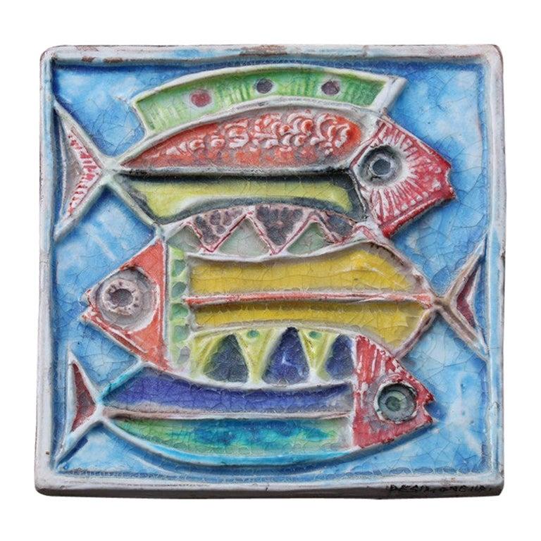 Ceramic Fish Giovanni de Simone 1971 Multi-Color Picasso Style