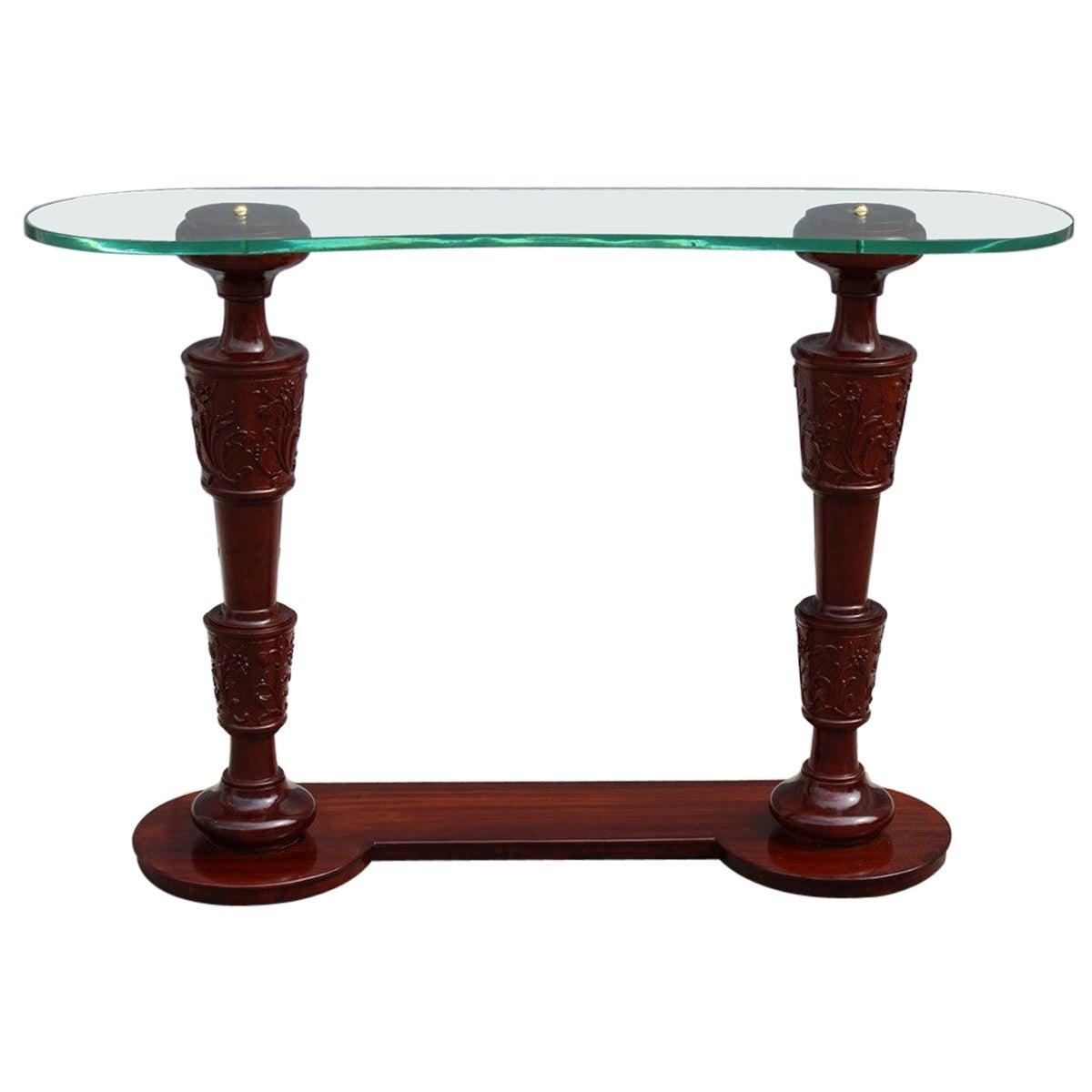 Console Pier Luigi Colli Midcentury Italian Design Mahogany Top Glass Often