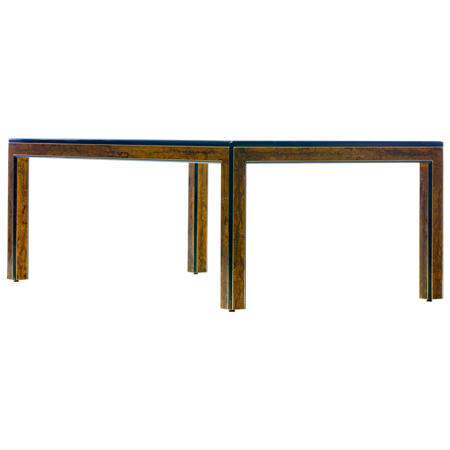 Bernhard Rohne Acid Etched Brass and Glass Dining Table for Mastercraft
