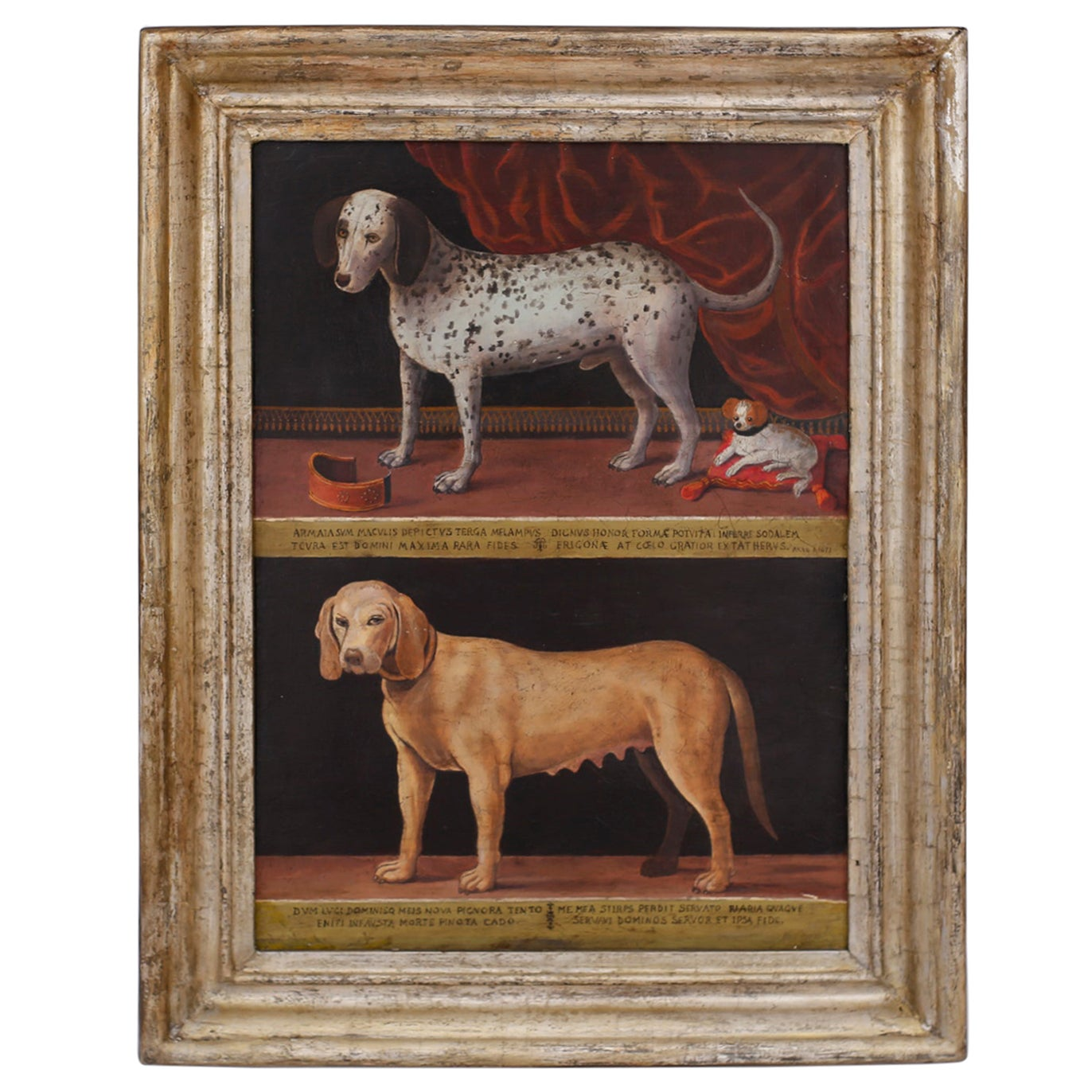 Antique Oil Painting on Board of Dogs