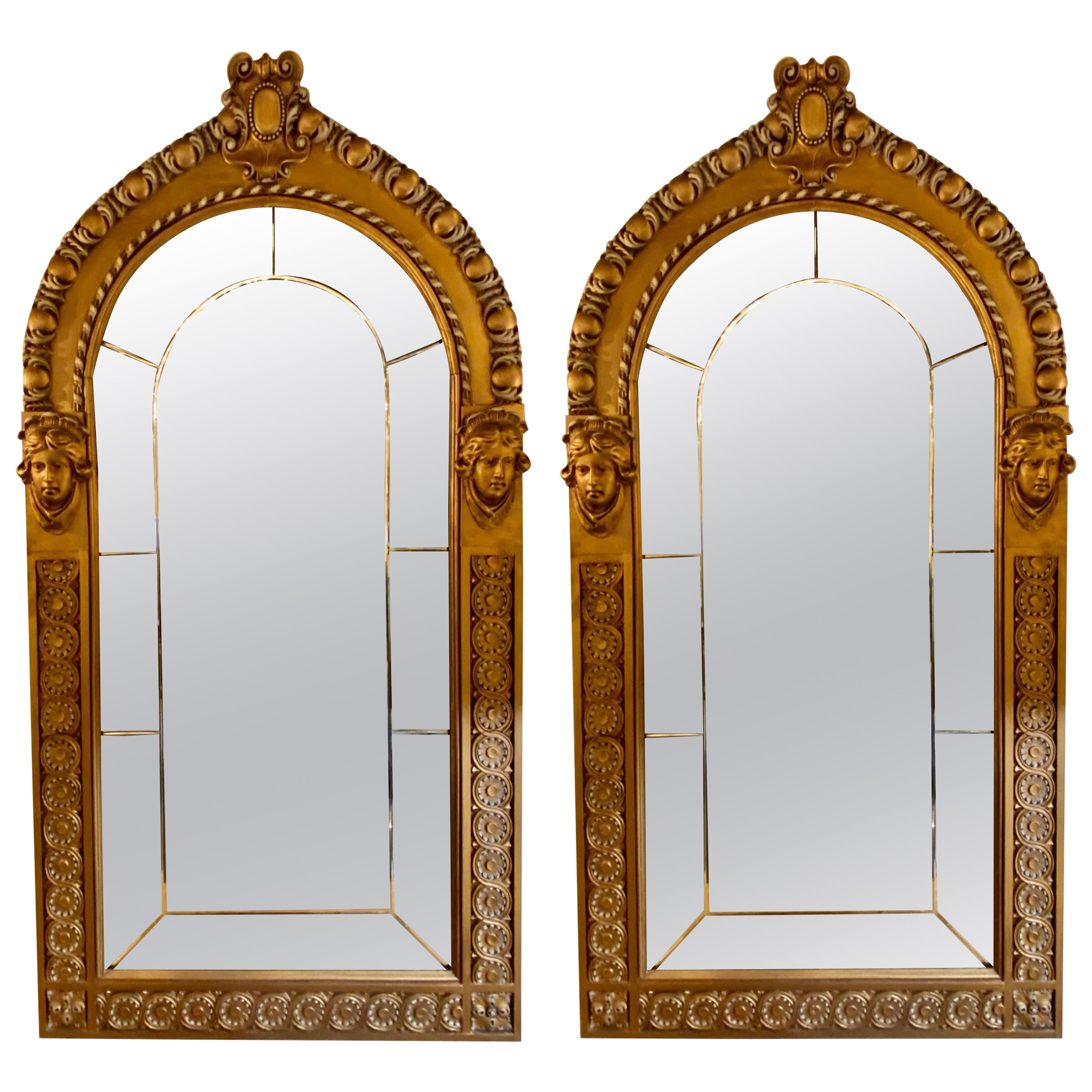 Pair of Neoclassical Wall or Console Mirrors, Giltwood Carved