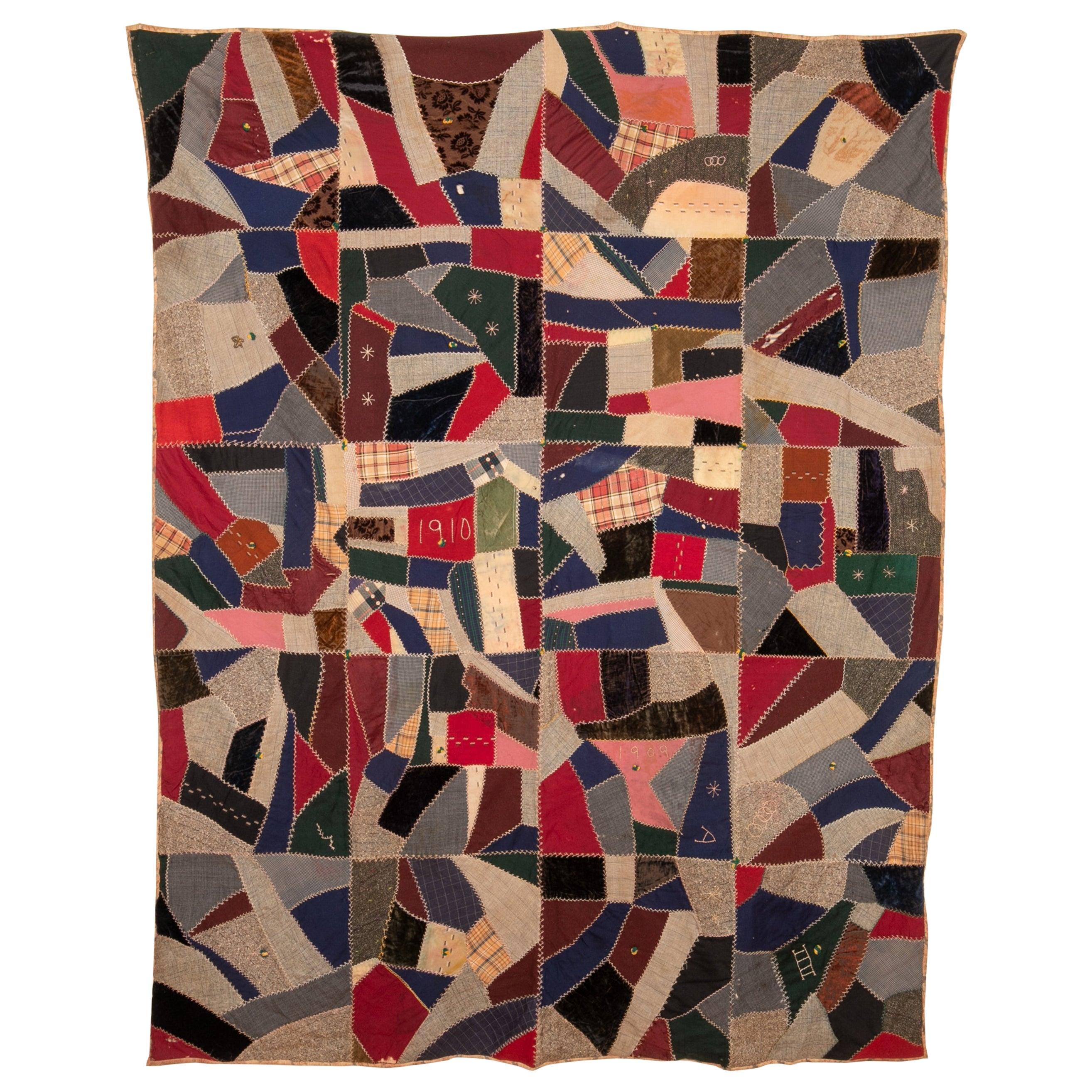 Antique American Crazy Quilt, Dated, 1909-1910