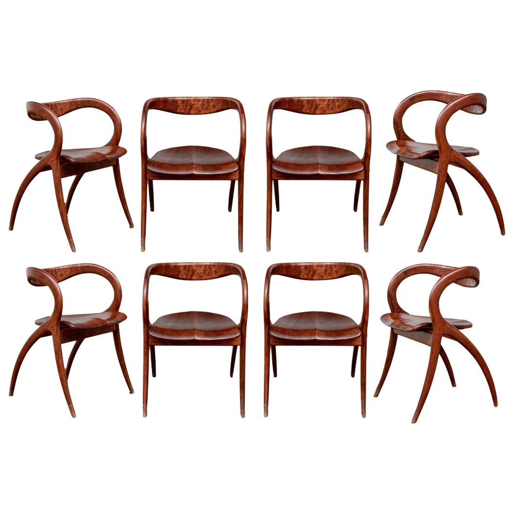 Set of Eight Midcentury Style Mahogany Dining Chairs