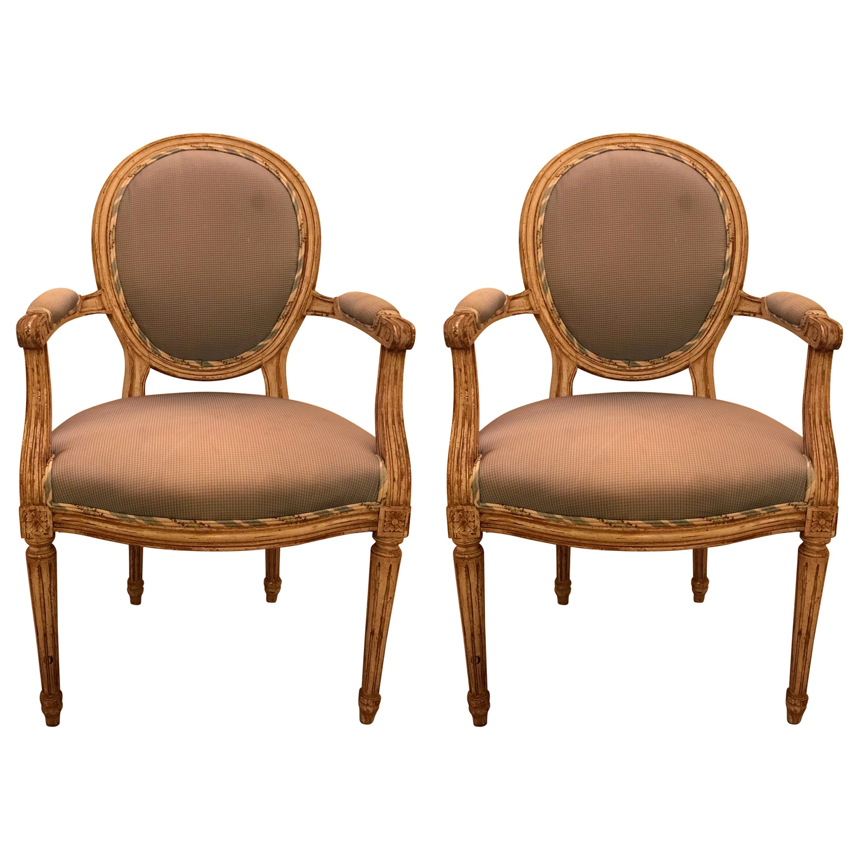 Pair of Maison Jansen Classic Louis XVI Style Armchairs