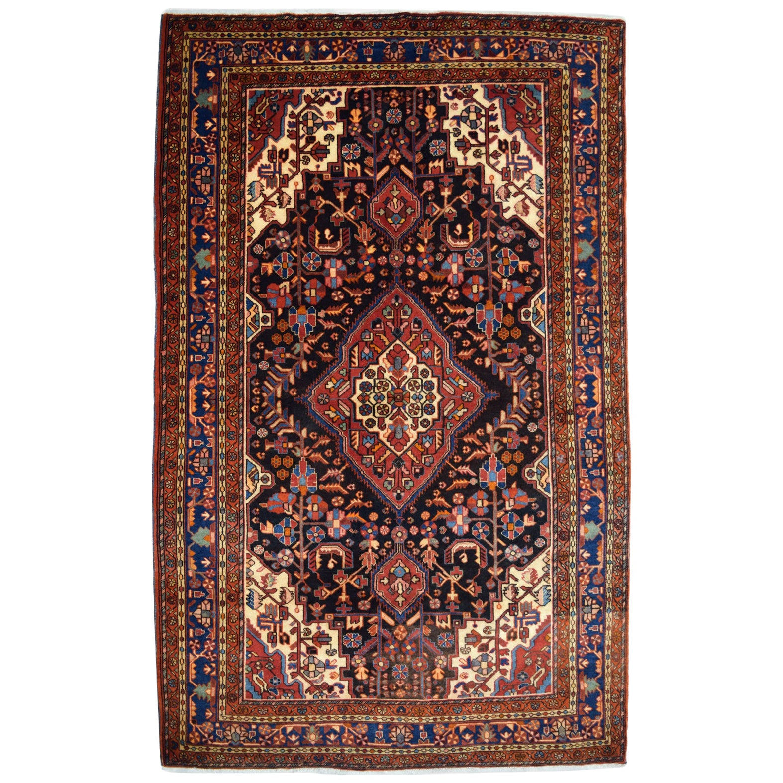 Traditional Persian Nahavand Carpet in Red, Black and Cream Wool