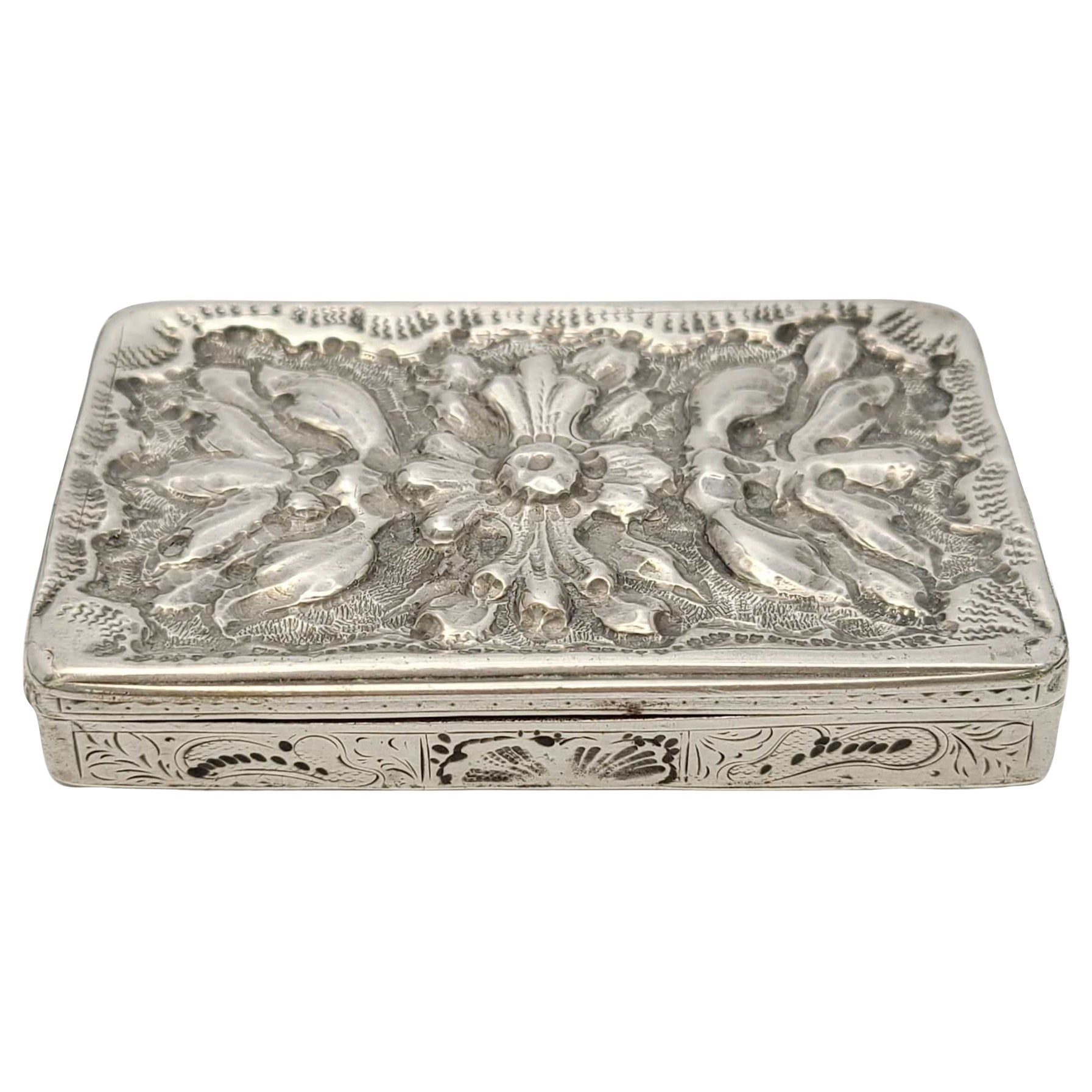 Antique Sterling Silver Repousse Box